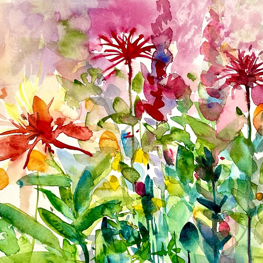 Garden Bright and blowy Greetings Card