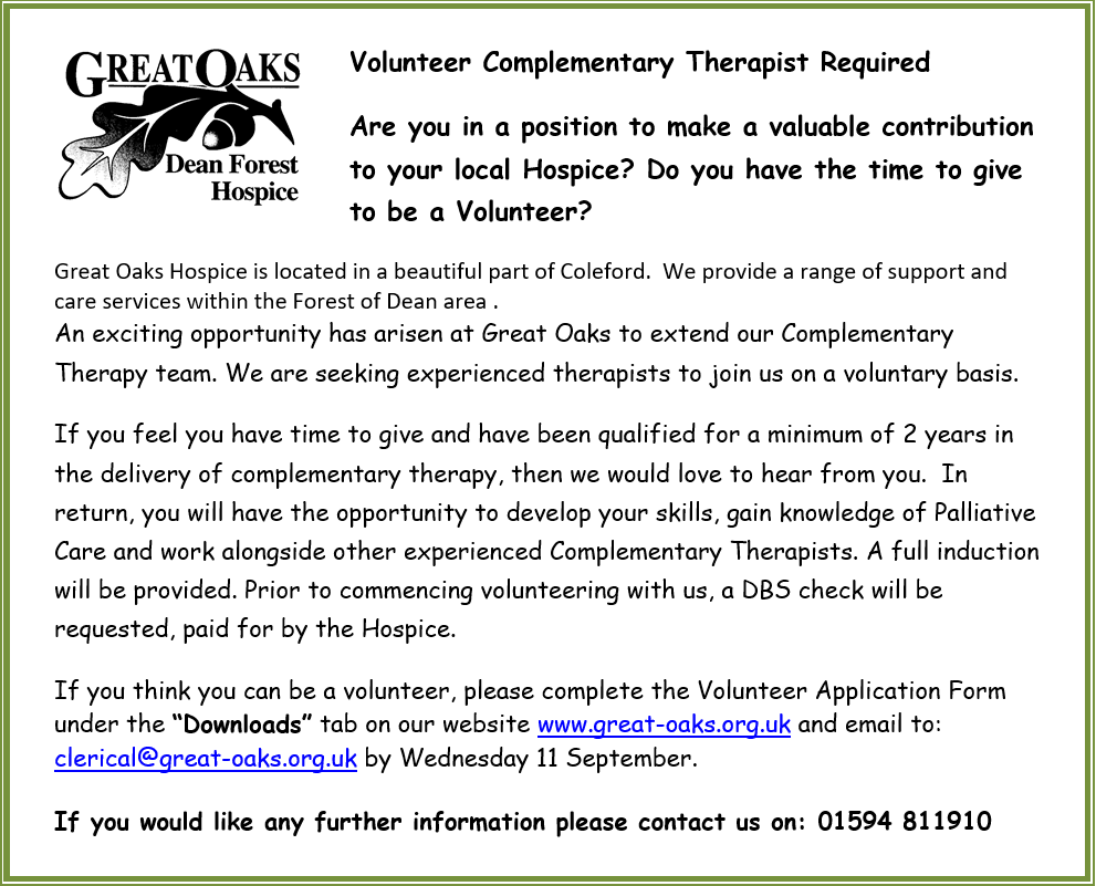 Volunteer Complementary Therapist Required