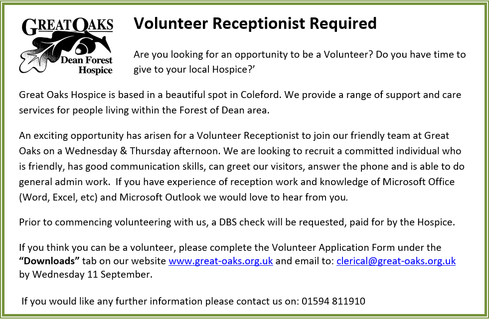 Volunteer Receptionist Required