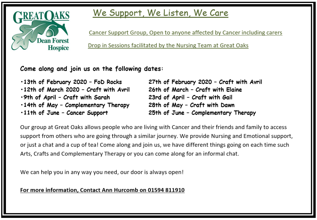 Cancer Support Dates