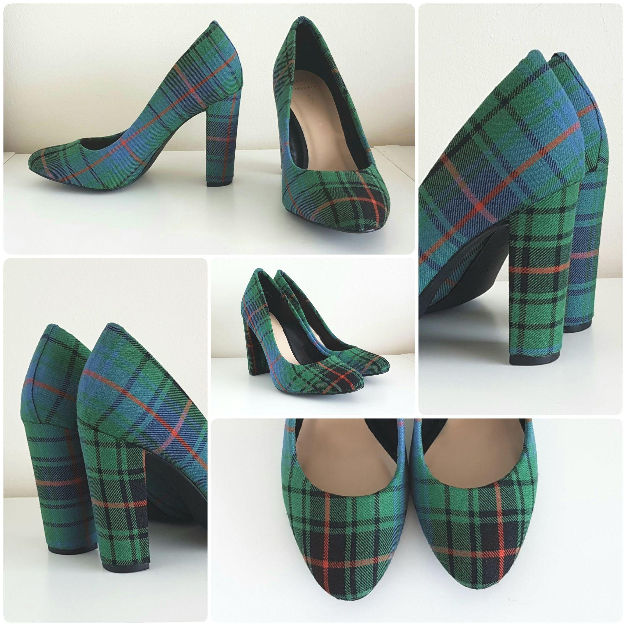 Green tartan shoes, Ancient Davidson tartan shoes, Maclean Modern tartan