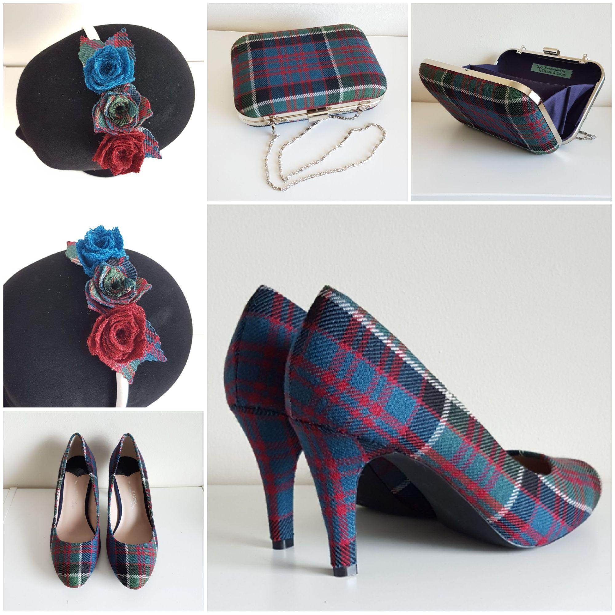 Tartan shoes, tartan clutch bag, tartan hairband mackenzie modern tartan