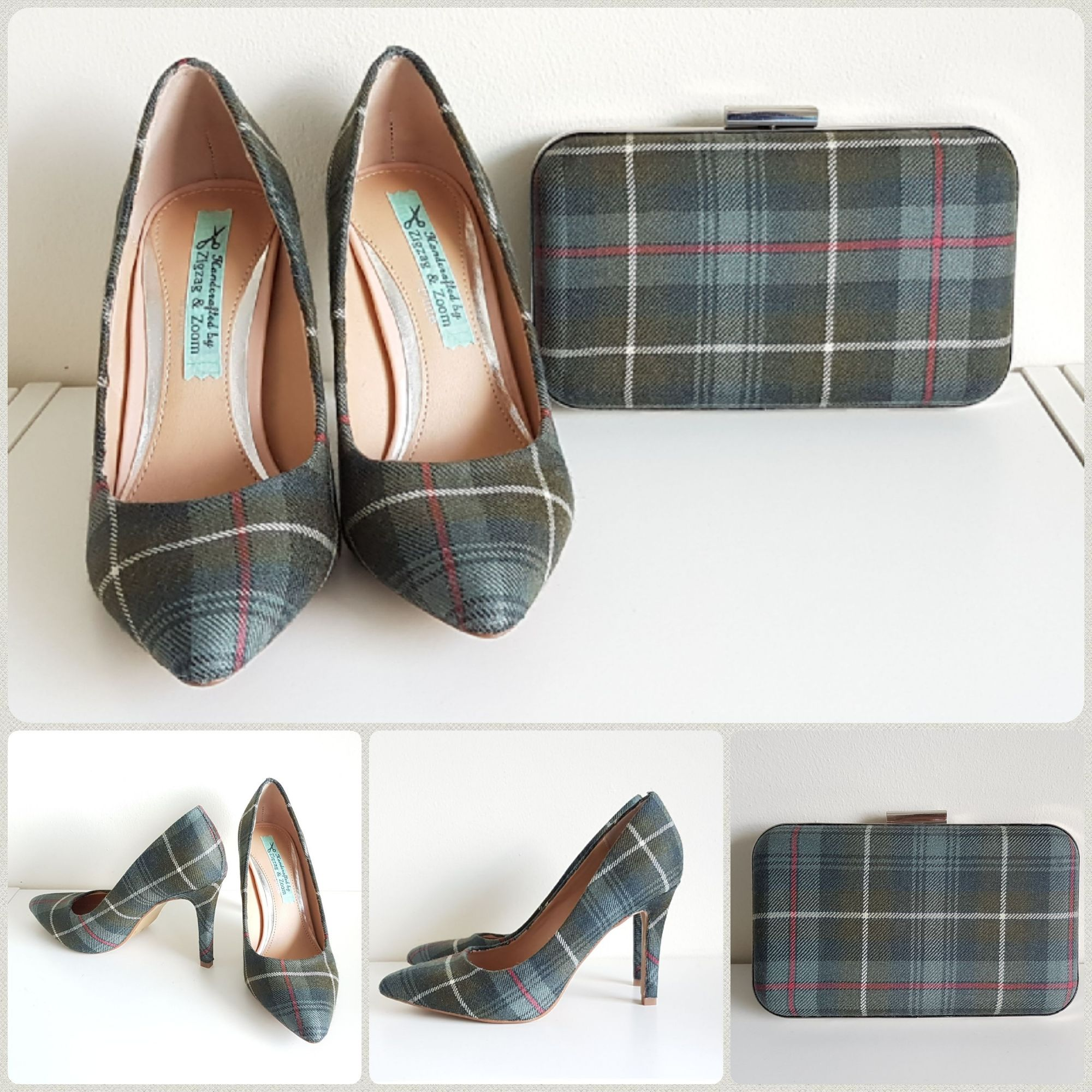 Weathered Mackenzie Tartan shoes & matching clutch bag
