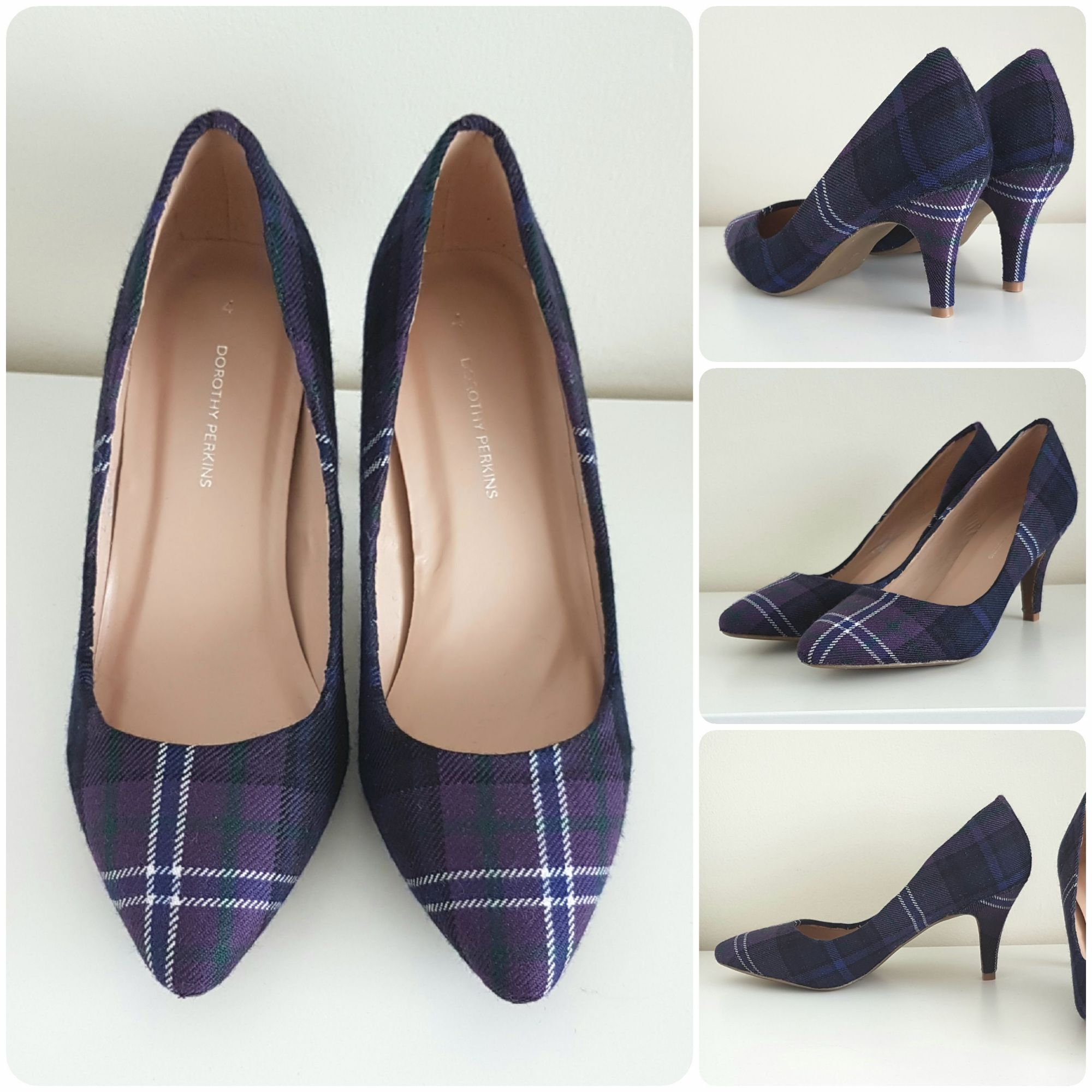 Purple Tartan court shoe