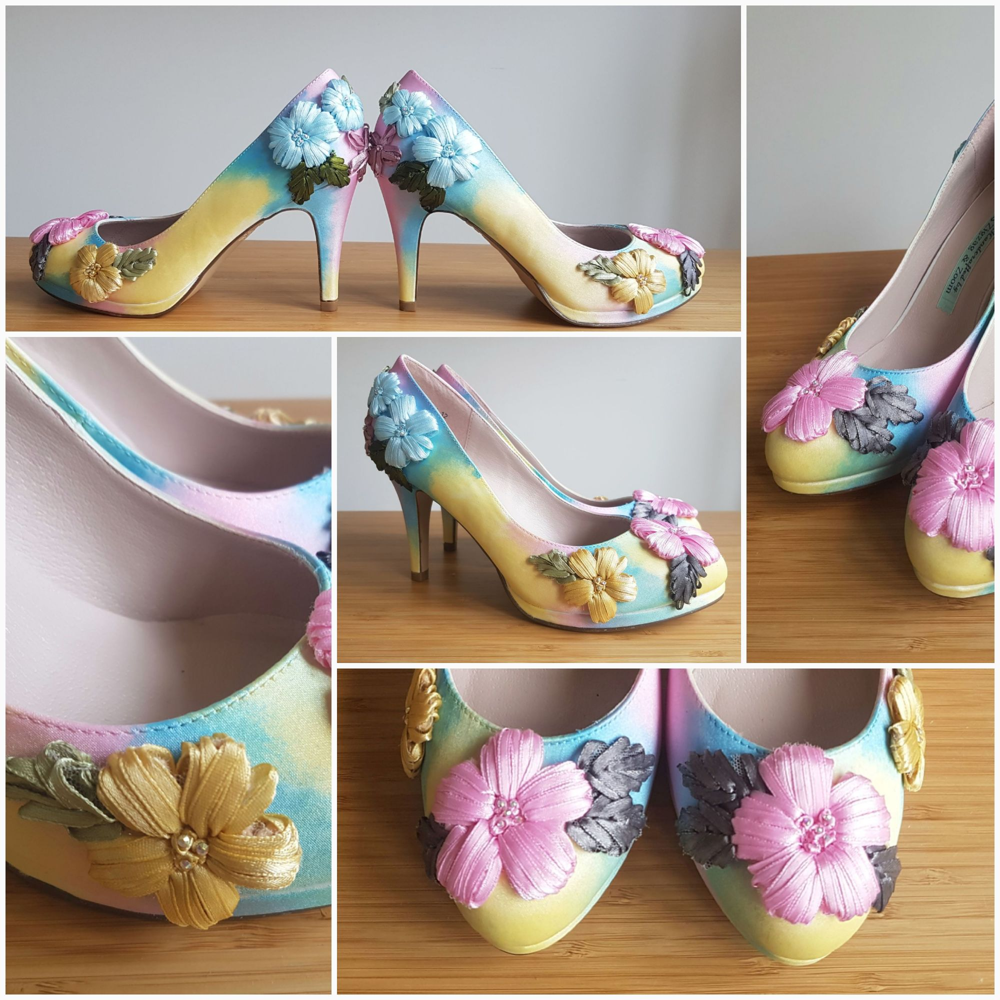 Handpainted pastel floral shoes