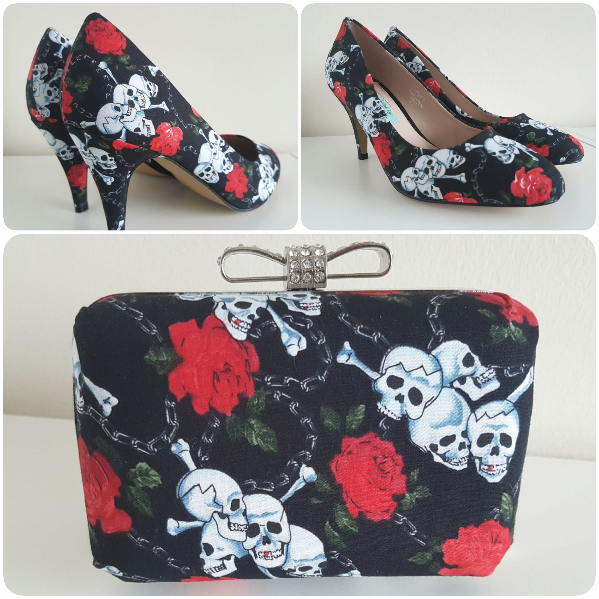 Gothic shoes, Skull & Roses shoes & bag, alternative wedding shoes