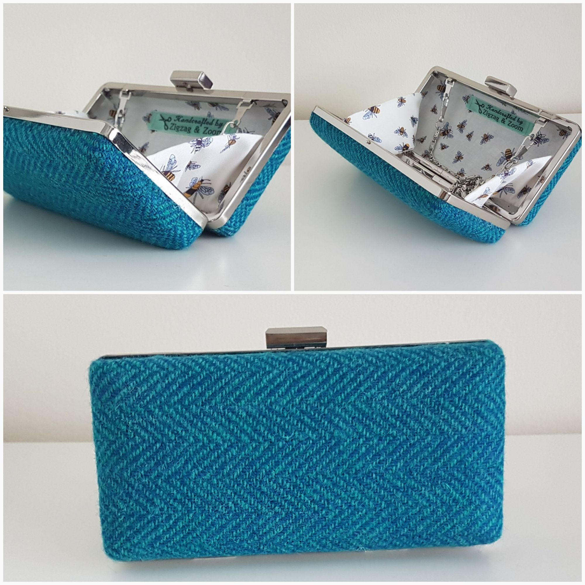 Blue Harris Tweed & bee clutch bag