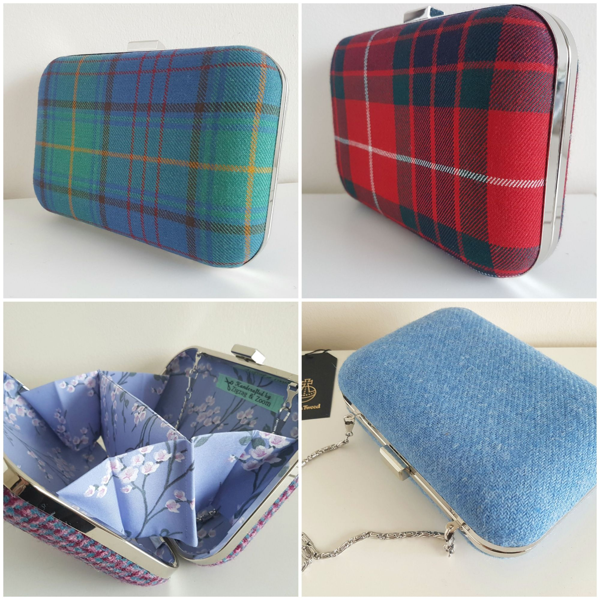 Fraser Red Tartan, Green Tartan clutch bag, Harris Tweed bags