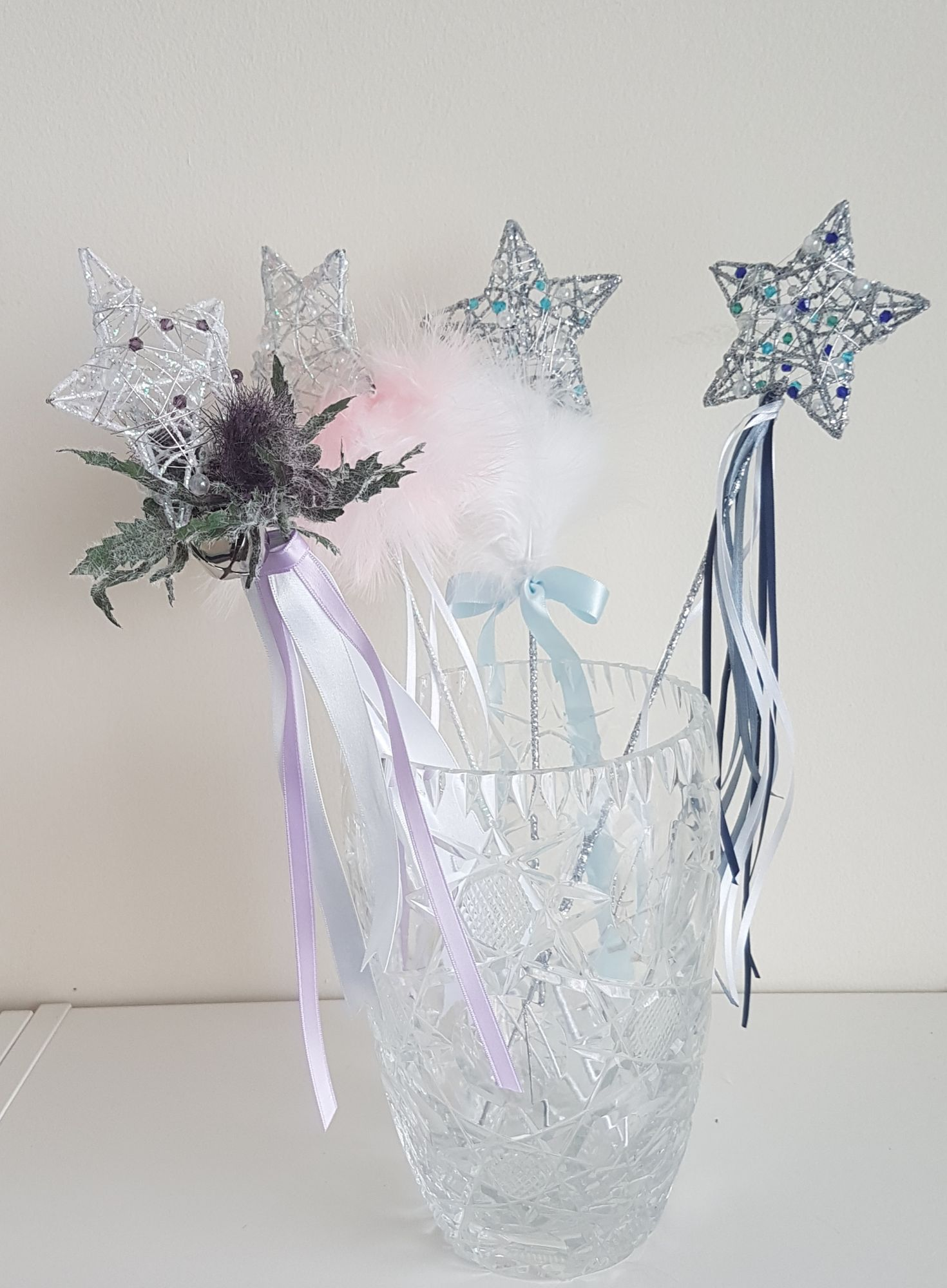 Custom flowergirl wands, star wands