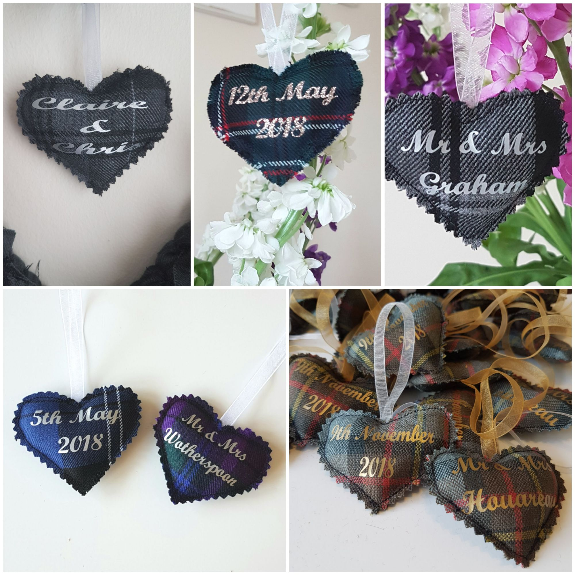 Personalised tartan wedding favours, personalised gift idea