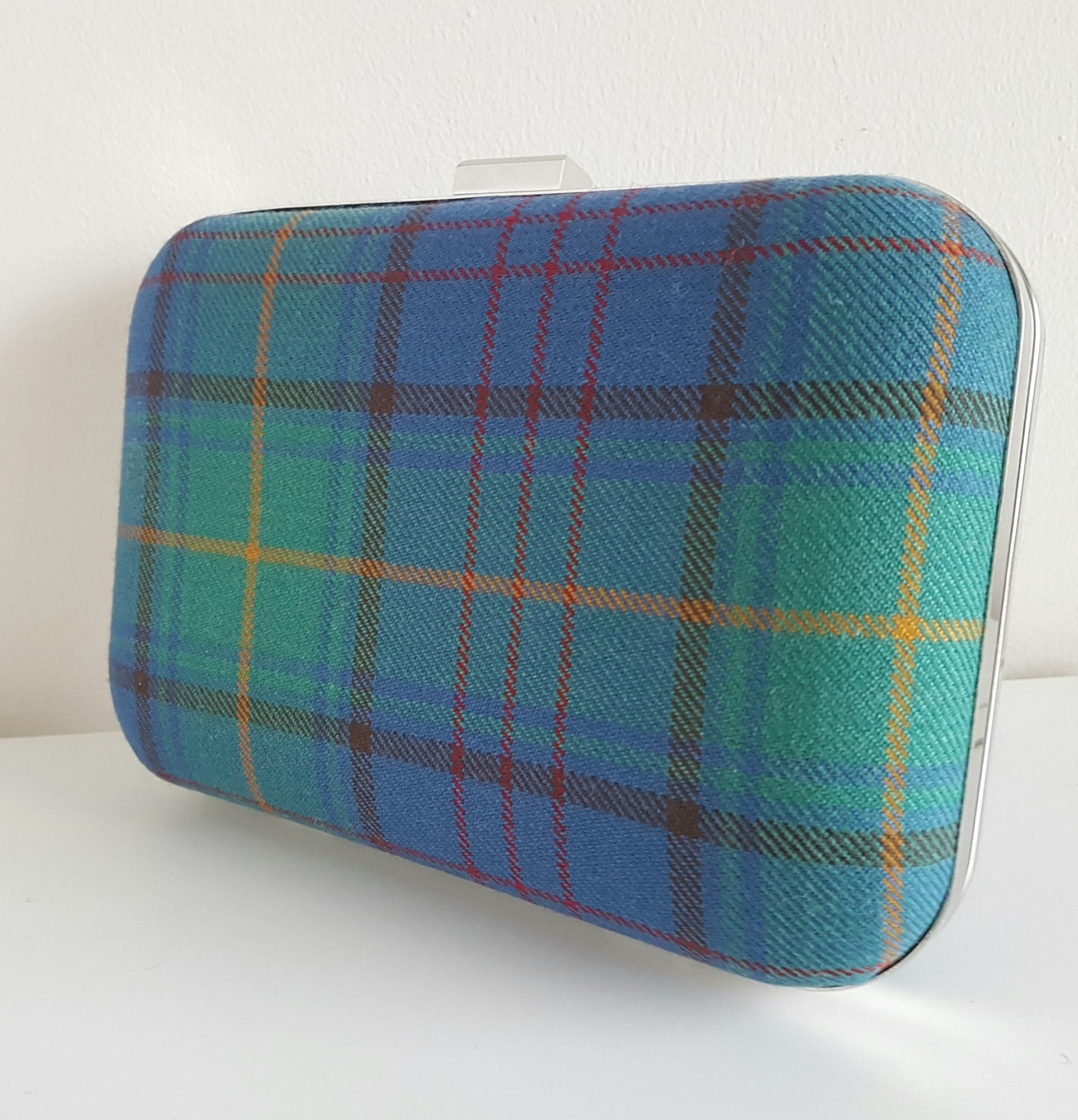 Custom tartan clutch bag