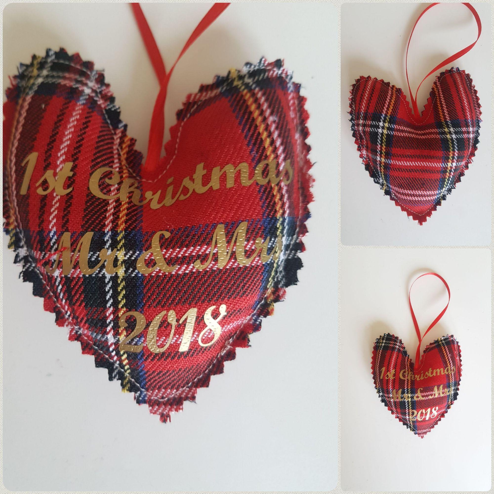 Red tartan 1st christmas as mr & mrs
