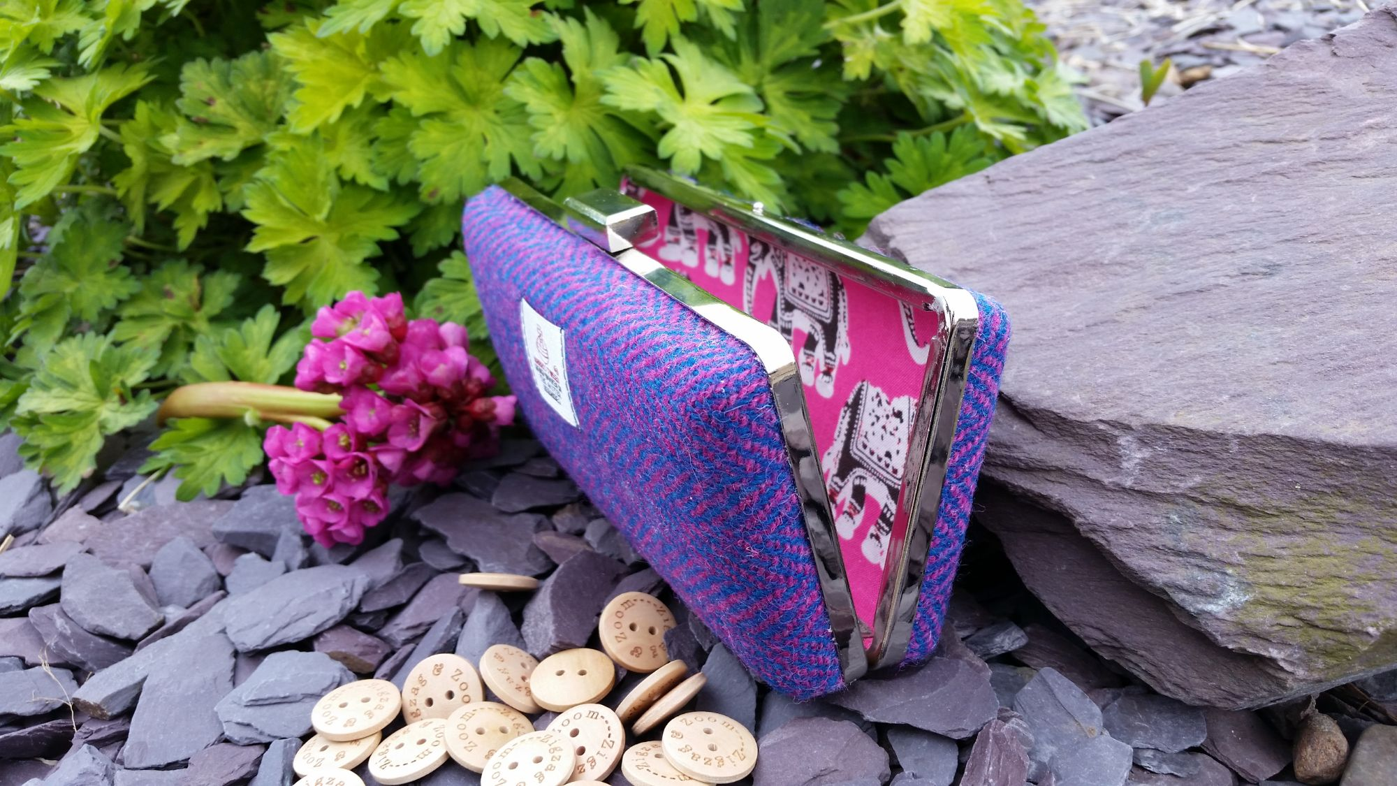 Purple & pink Harris Tweed clutch bag