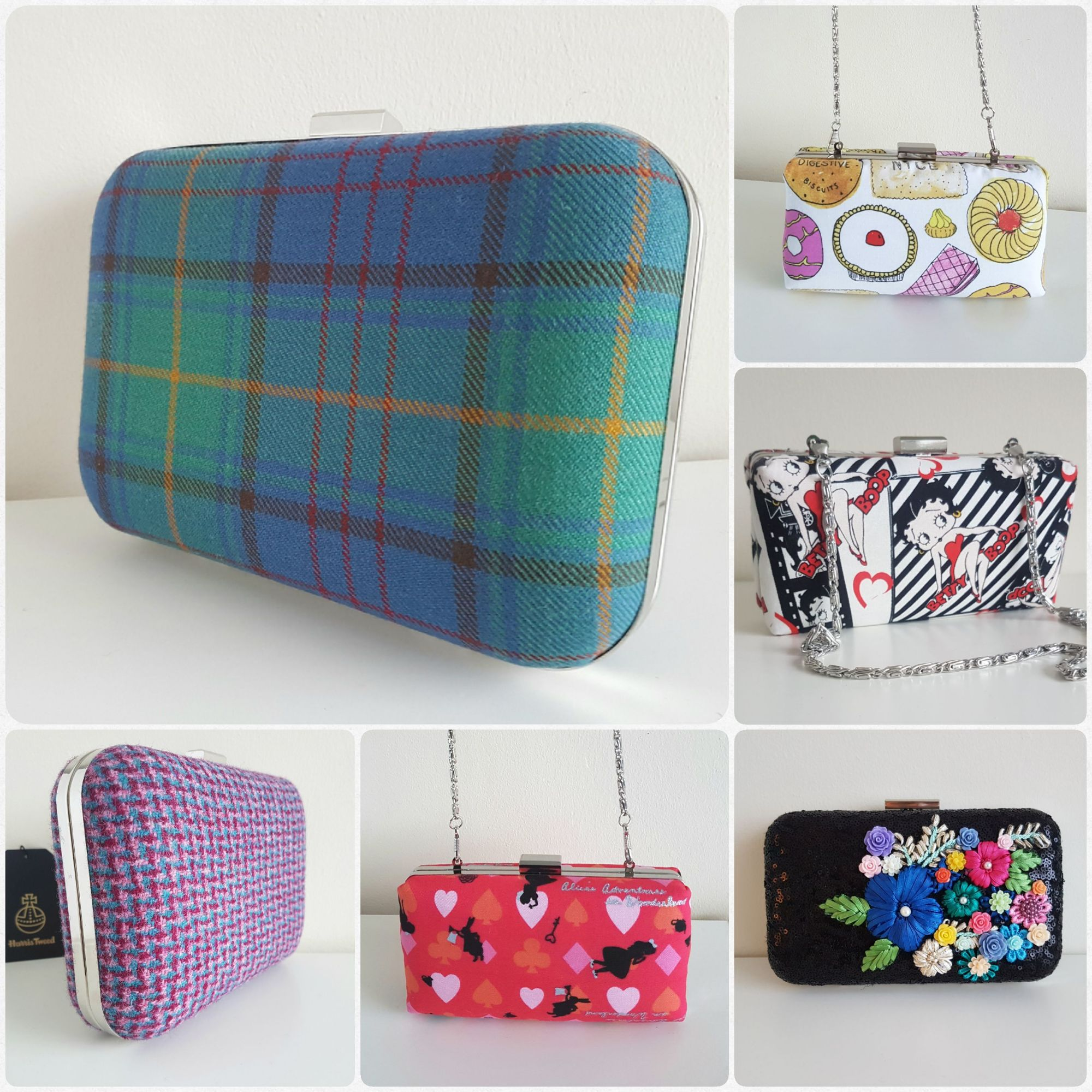 Custom tartan clutch bags, Harris Tweed bags, Betty Boop clutch, unique designed bags