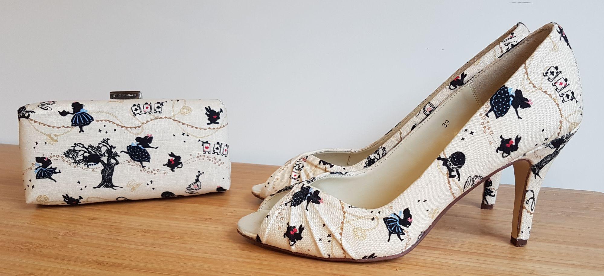 Alice in Wonderland heels and clutch bag