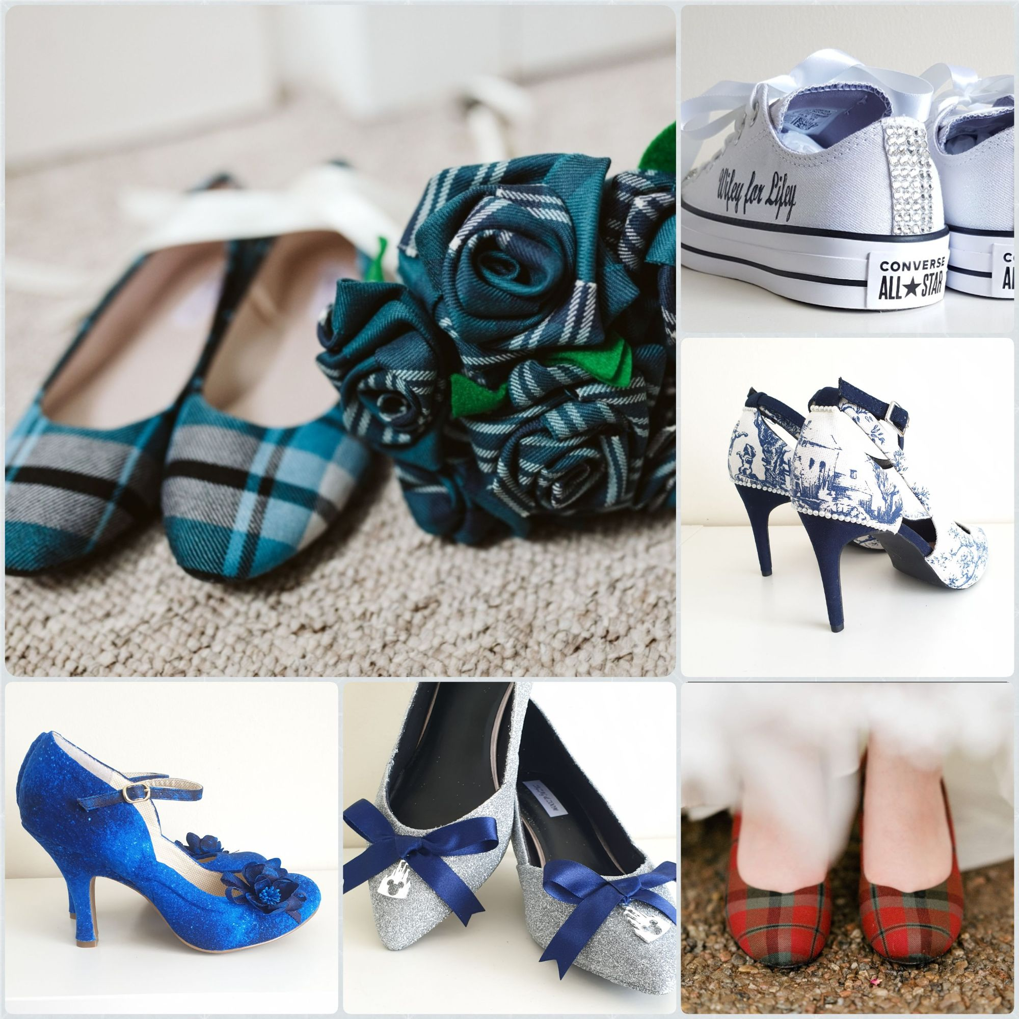 Tartan shoes,  custom wedding shoes, personalised Disney wedding converse,  Tartan bouquet,  bespoke wedding shoes