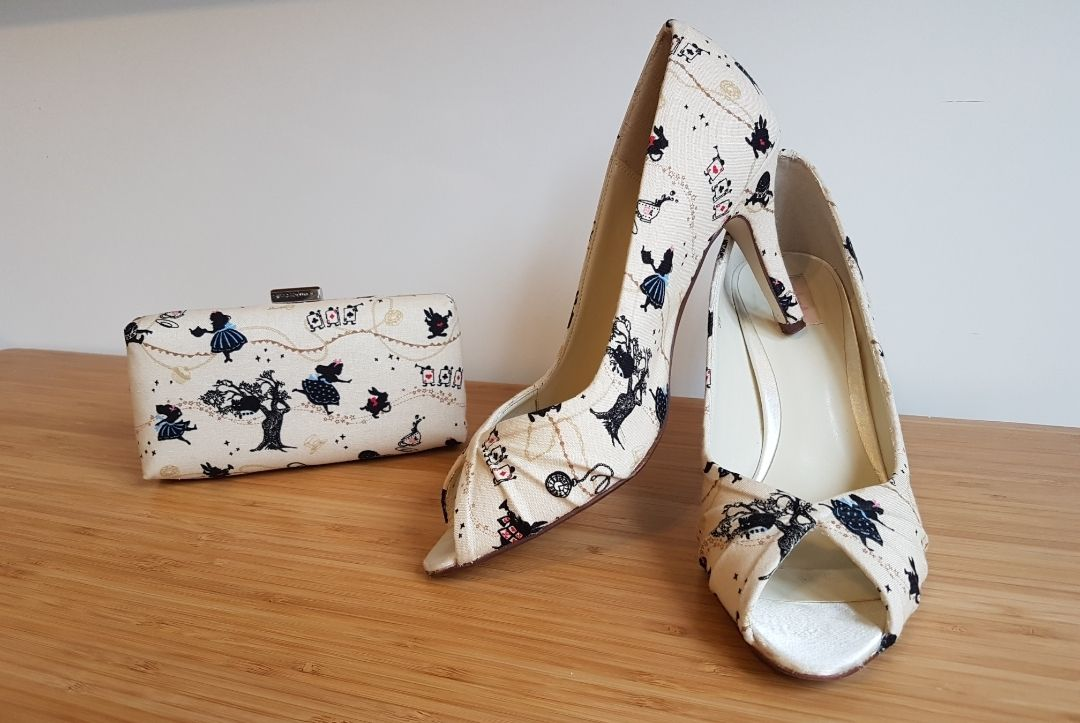 Custom Alice in Wonderland inspired peeptoe shoes and matching clutch bag, upcyled wedding shoes