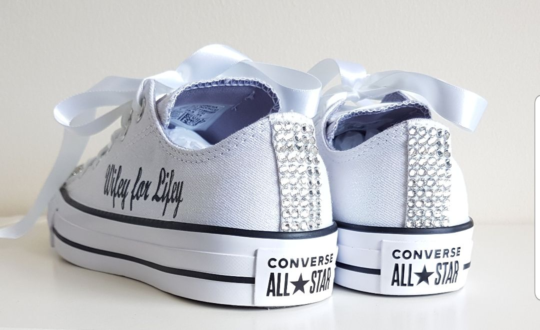 Custom personalised crystal wedding converse