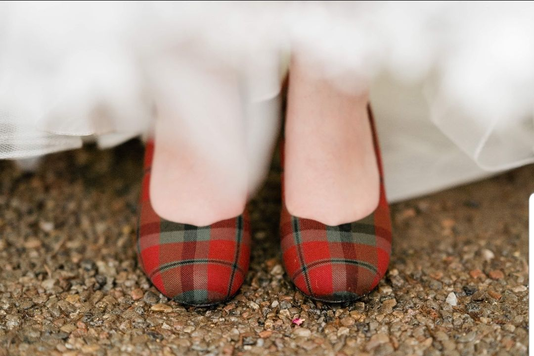 Red tartan wedding shoes