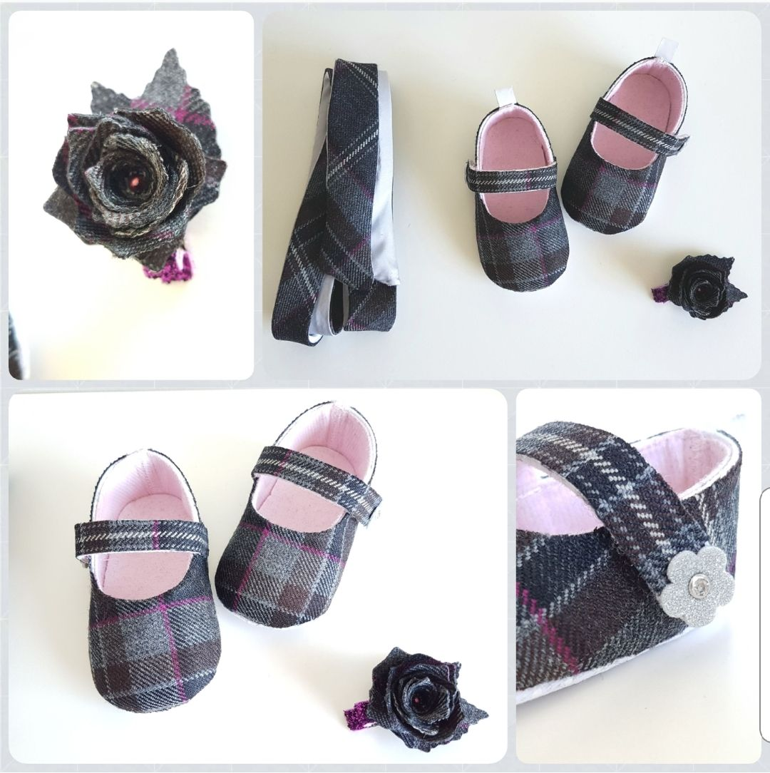 Tartan baby shoes, hair clip and sash.