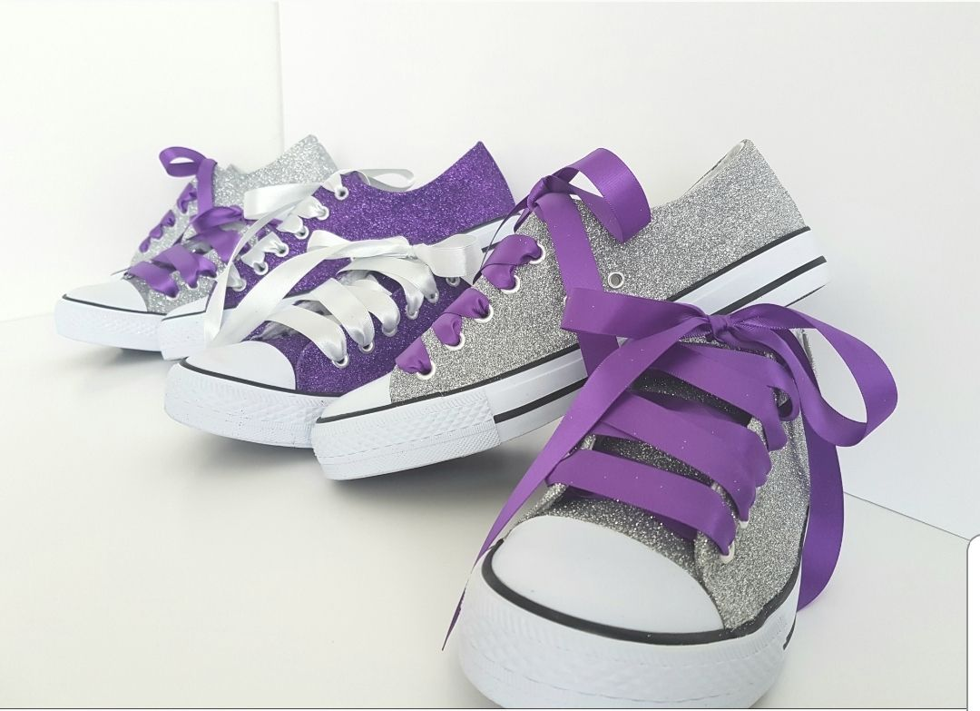 Purple and silver pumps