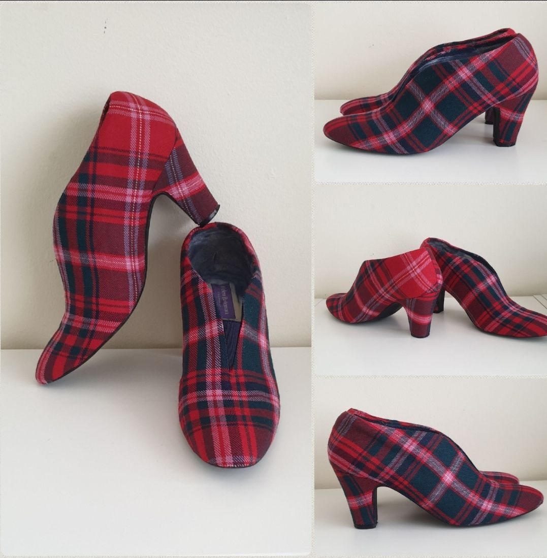 Custom red tartan ankle boots