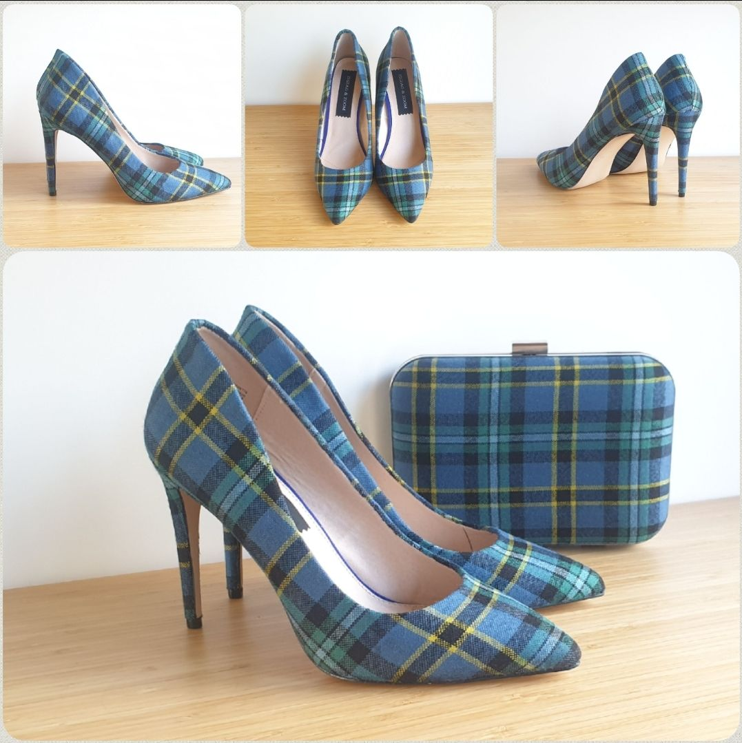 Stilleto tartan shoes and matching tartan clutch bag
