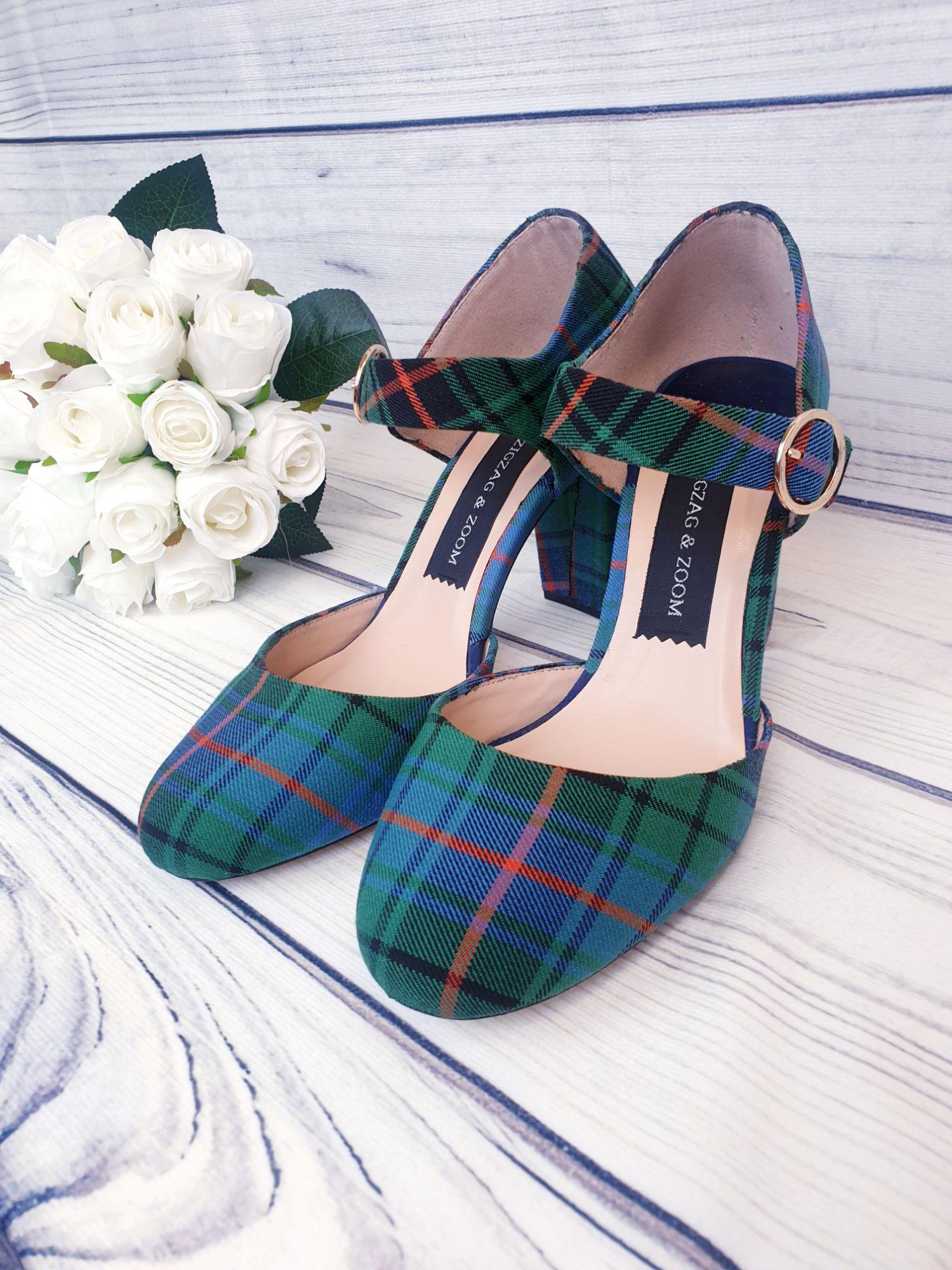Green tartan block heels