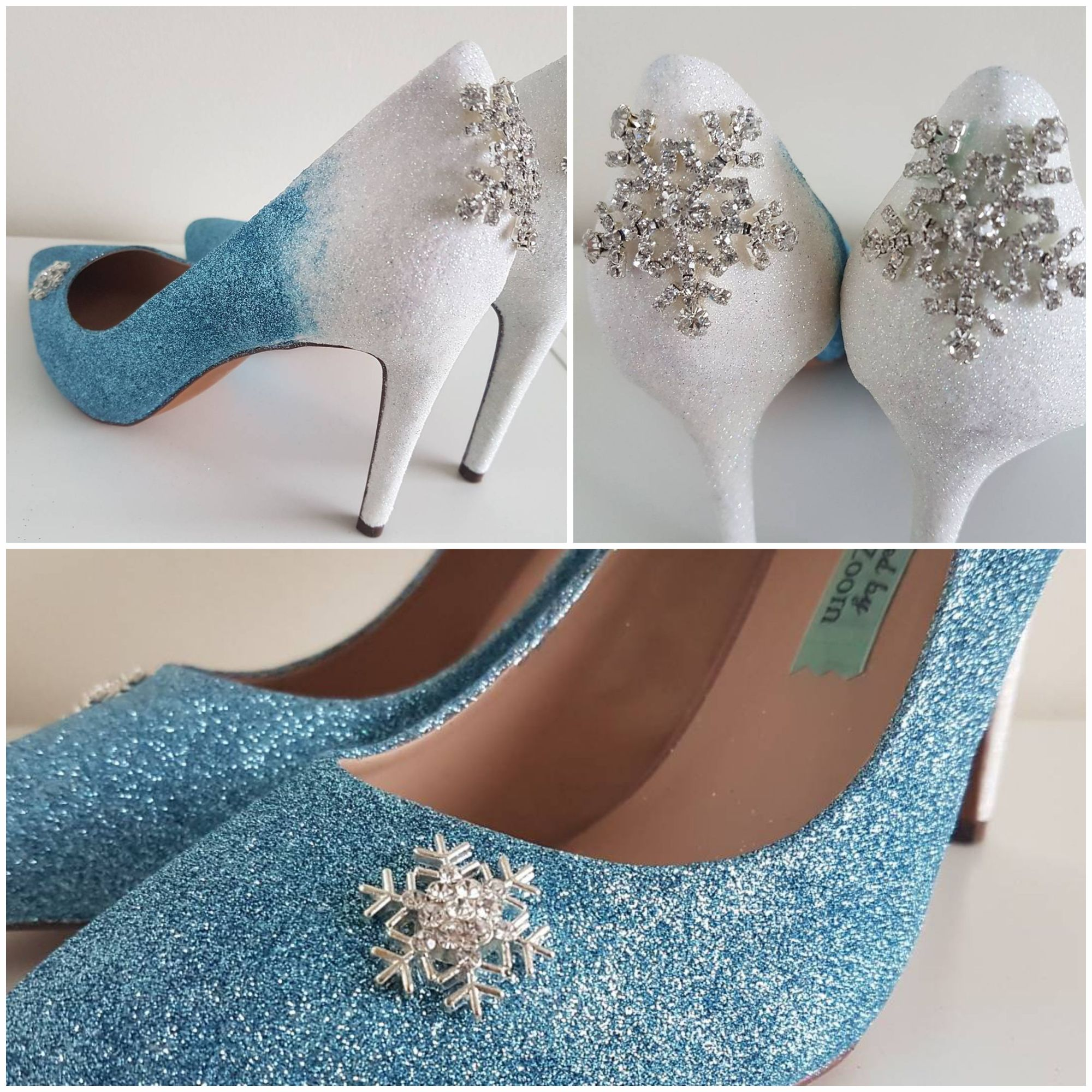 Disney Frozen, winter wedding, blue and white, snowflake shoes