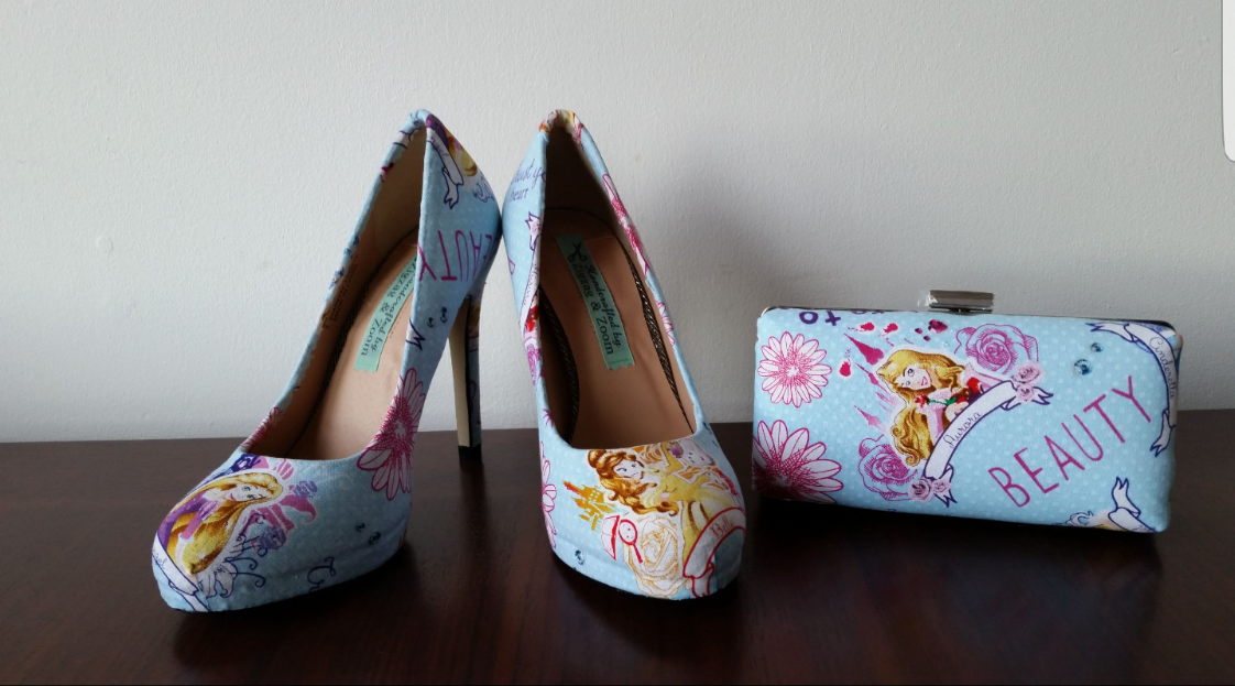 Disney wedding theme, Princess custom shoes and clutch