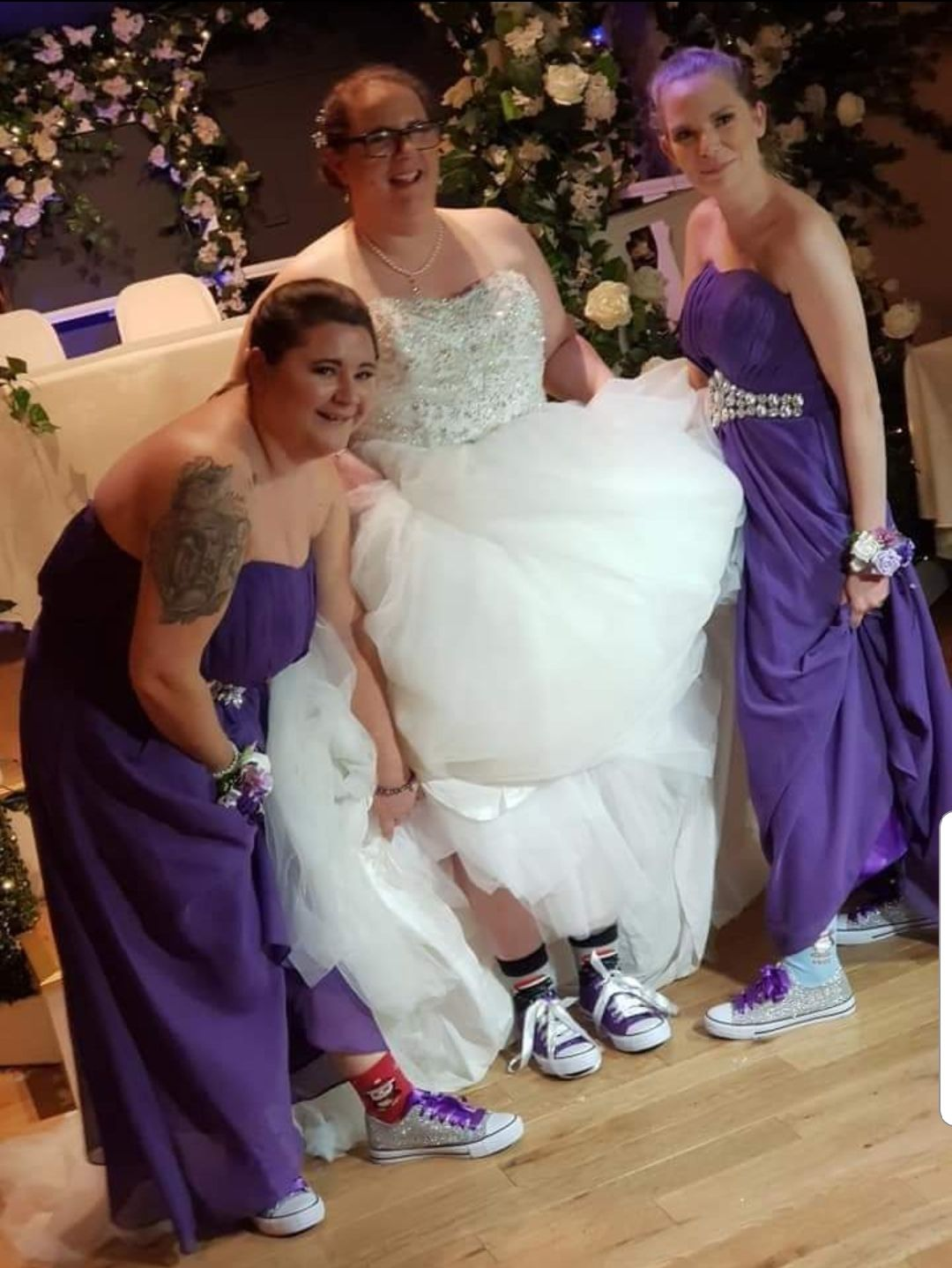Purple and silver wedding theme, purple and silver glitter pumps, custom converse
