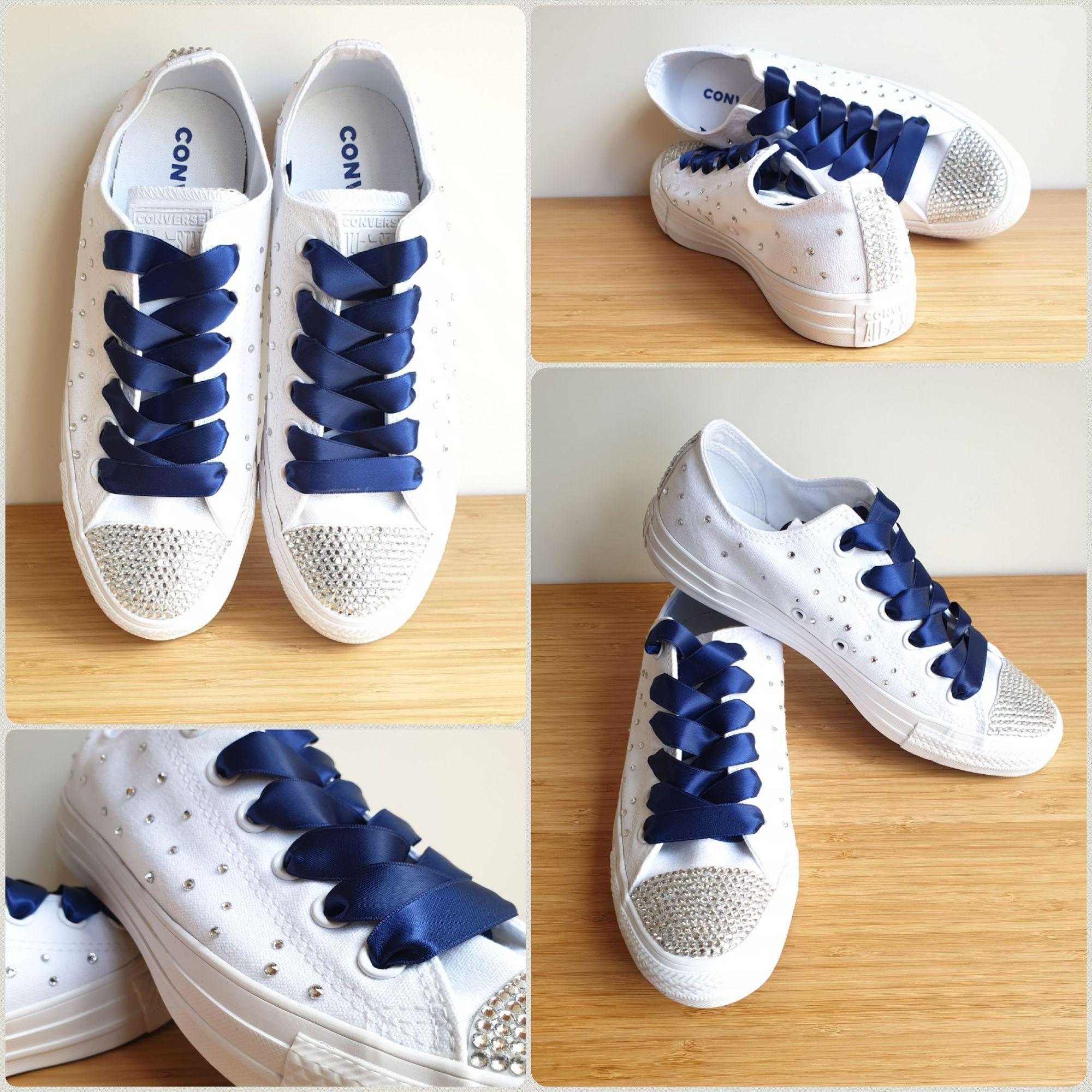 Navy blue custom converse