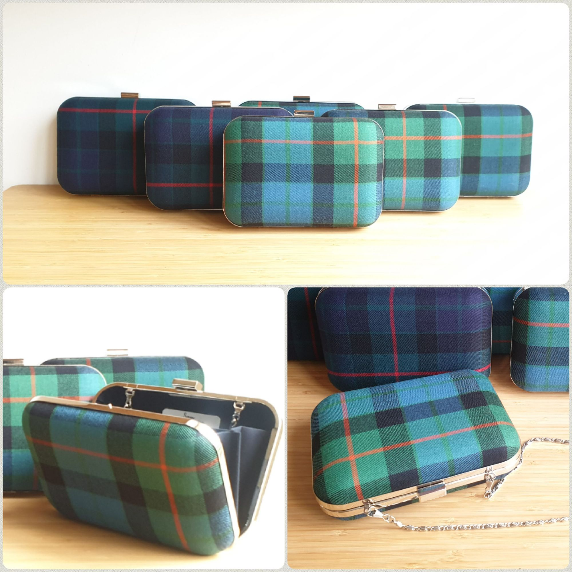 Gunn Modern and Gunn Ancient tartan clutch bags