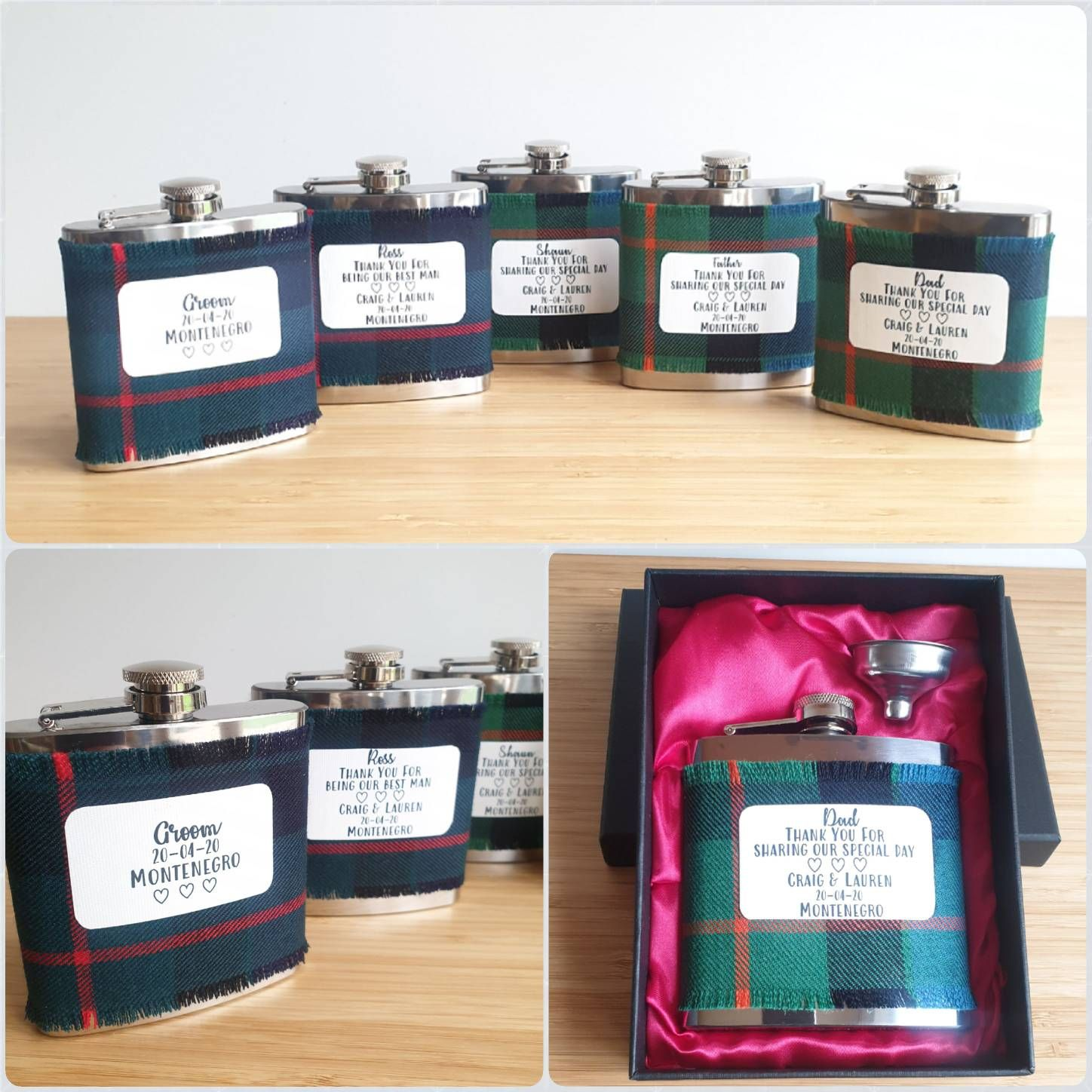 Personalised tartan hip flasks, gift idea.