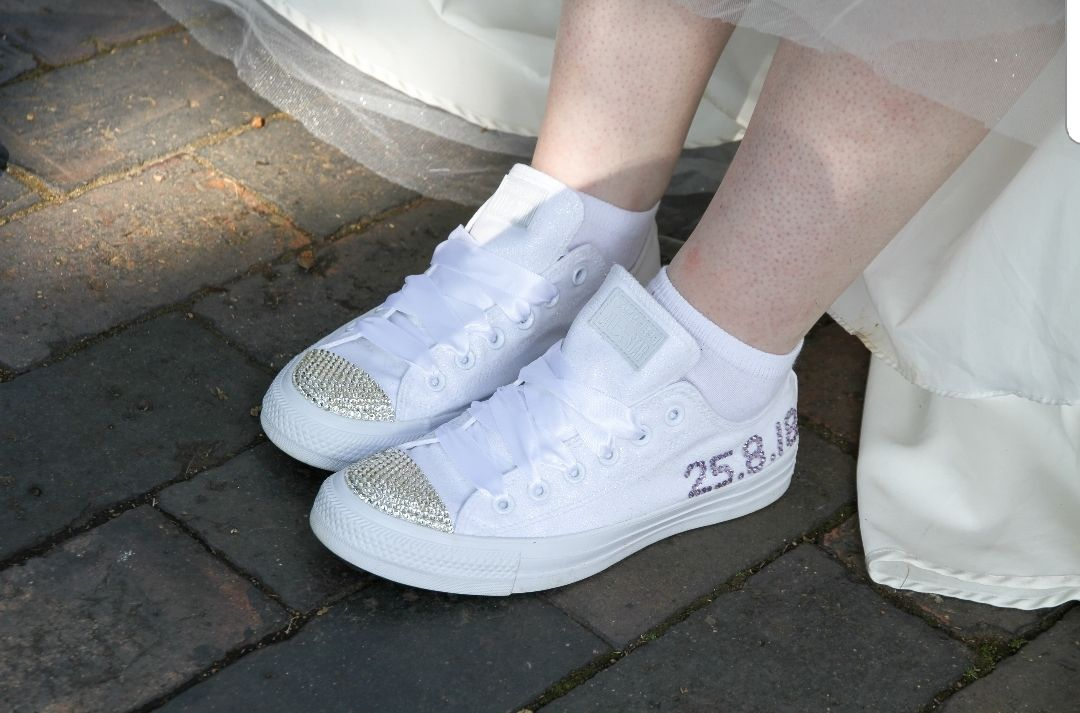 Custom white wedding converse