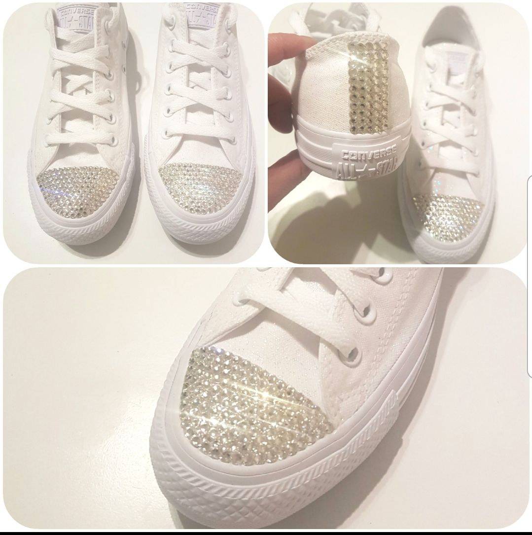 Crystal bling converse, all white converse