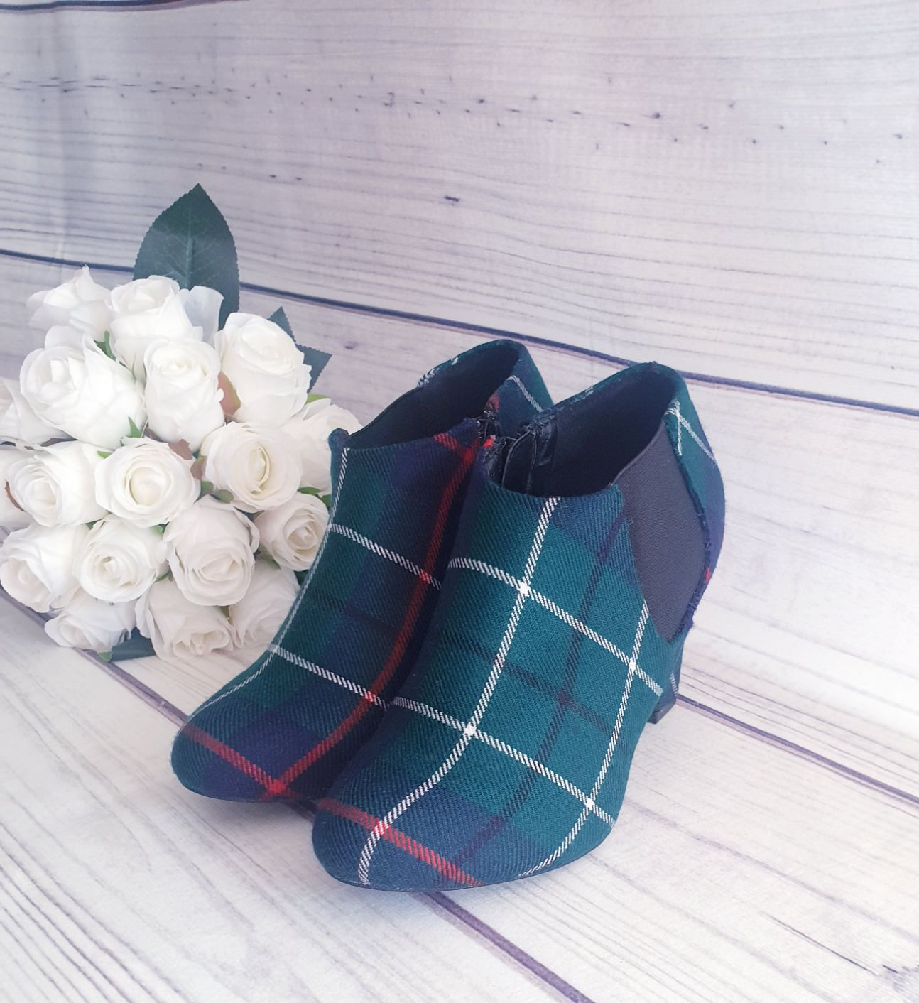 Custom tartan wedding ankle boots