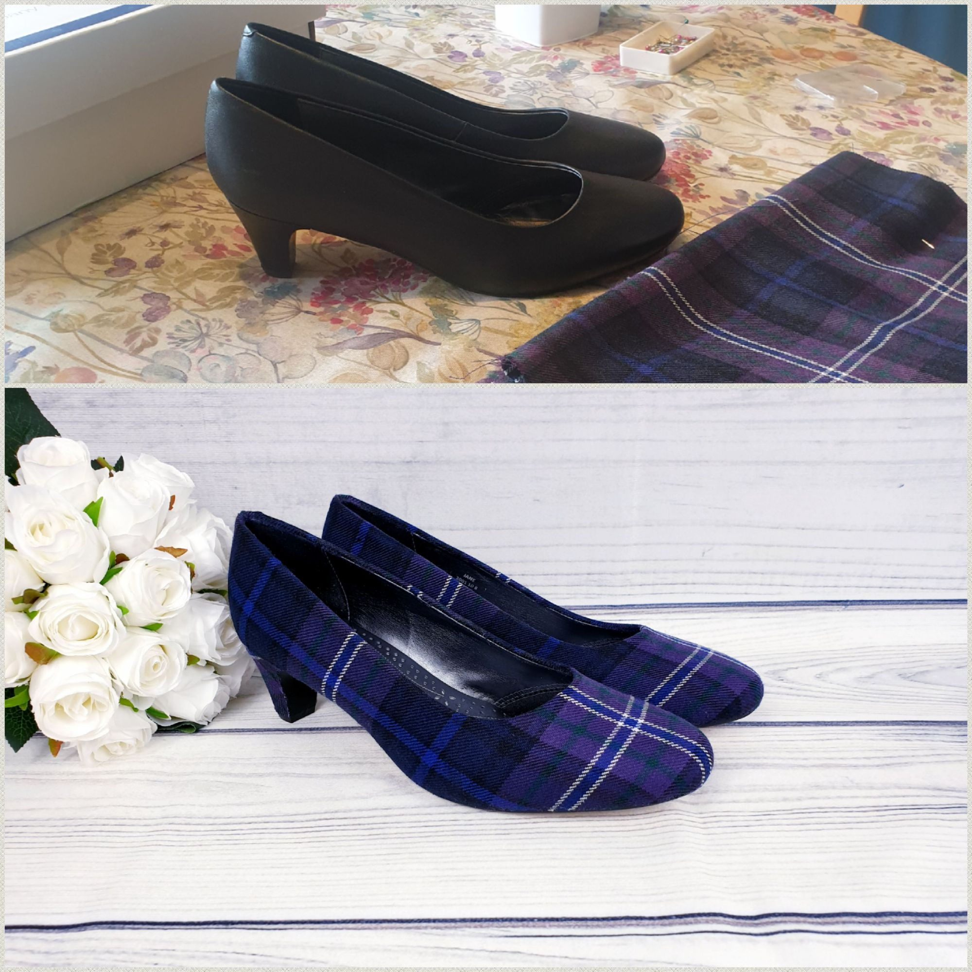 Custom scotland forever tartan shoes, before and after