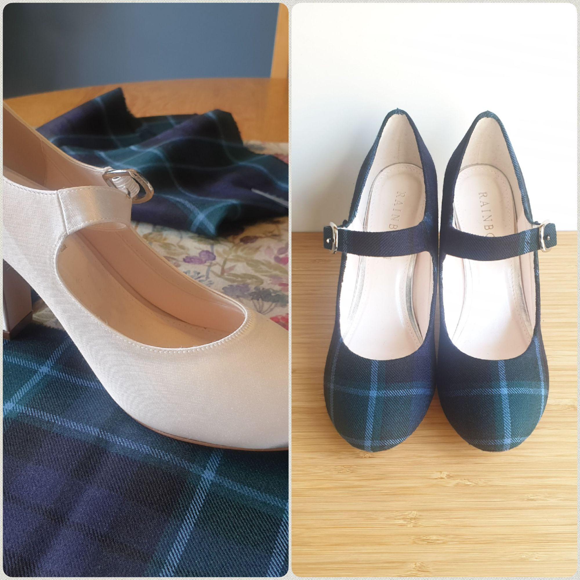 Custom tartan Rainbow wedding shoes, block heel with buckle