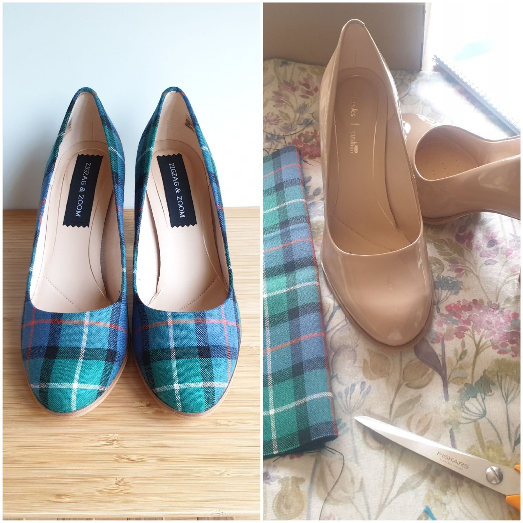 Green tartan wedding shoes, before and after