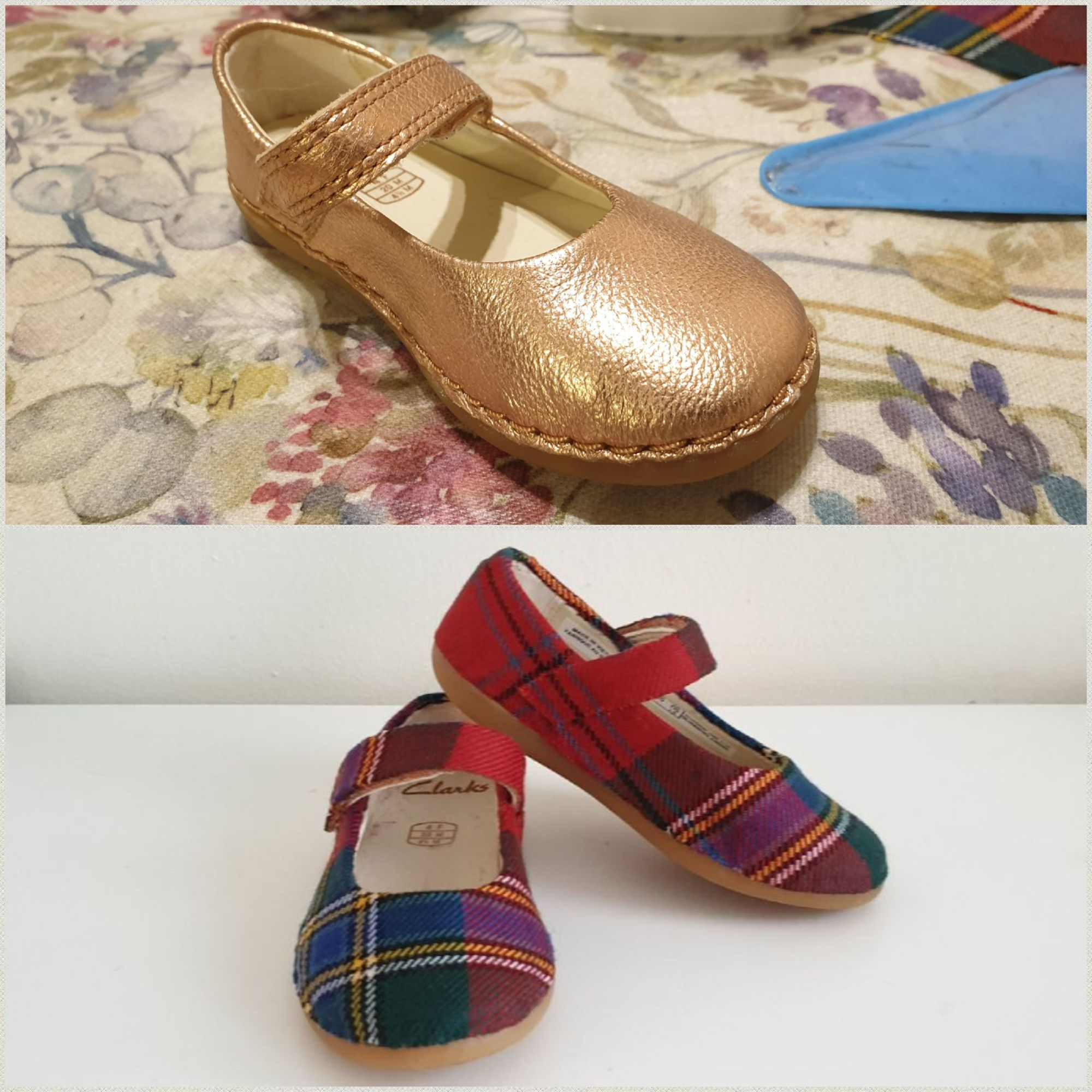 Child's tartan shoes, customised