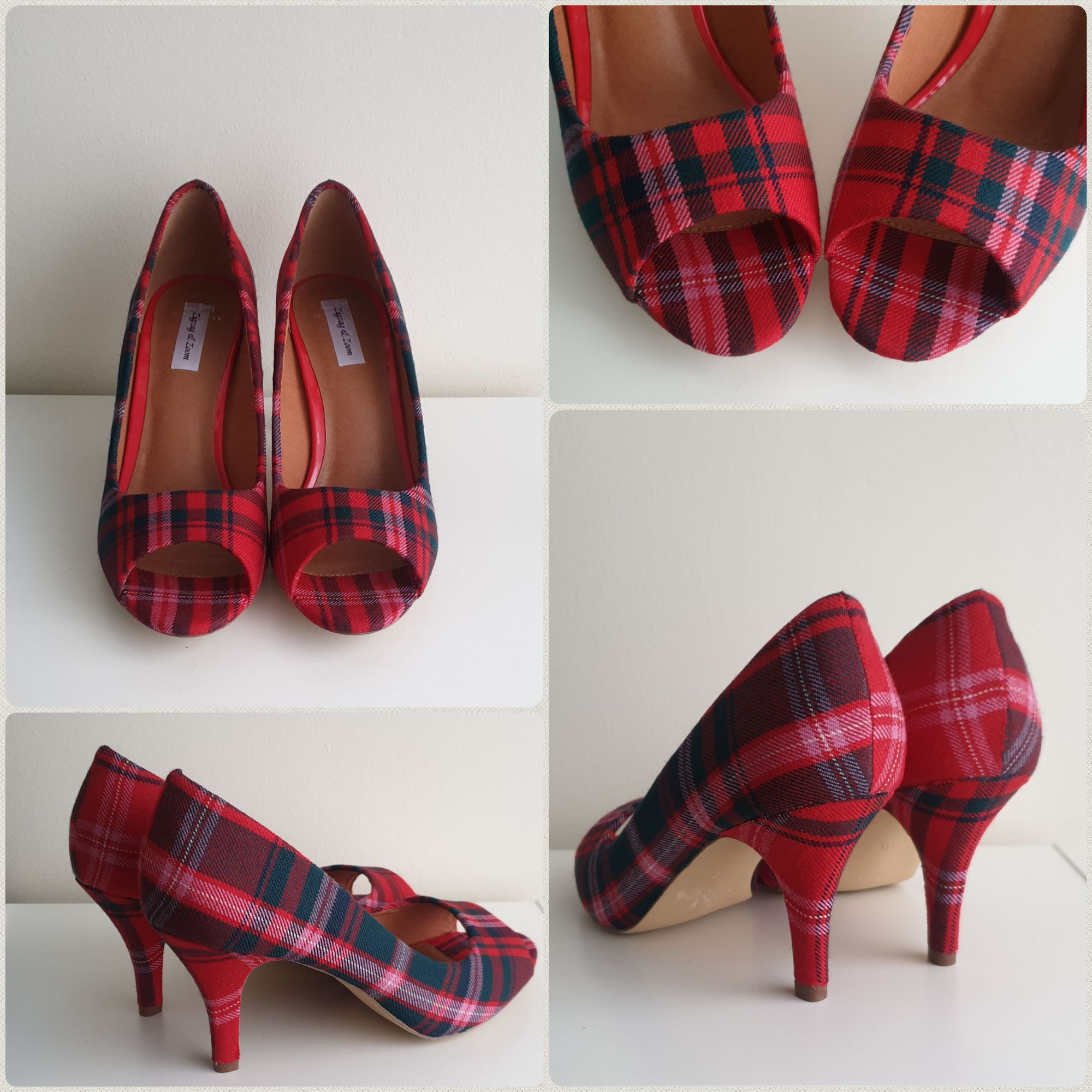 Red tartan peeptoe wedding shoes