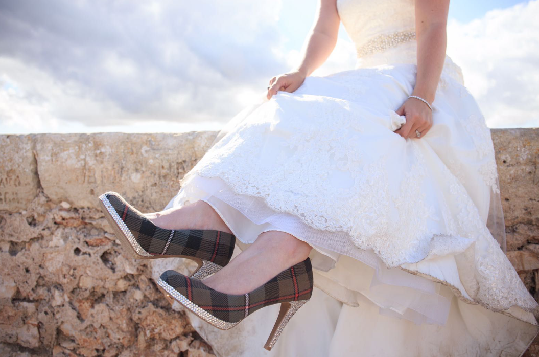 Tartan wedding shoes,  crystal wedding shoes, custom bridal footwear, bespoke wedding shoes