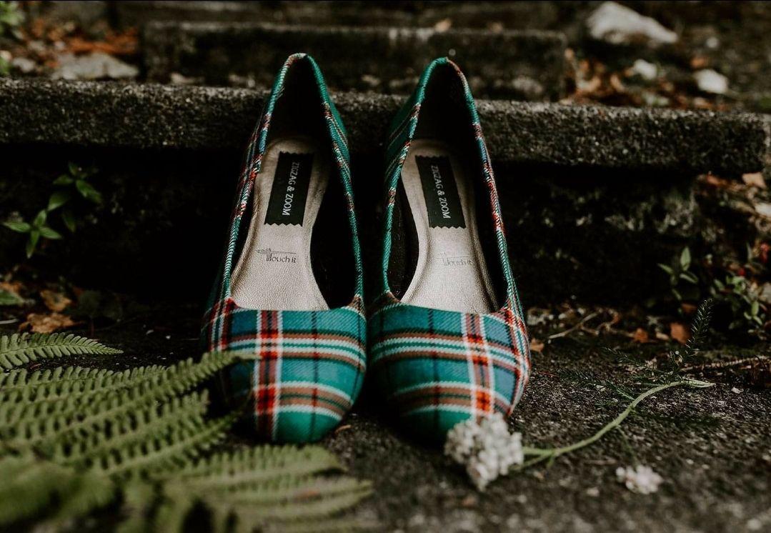 Green tartan wedding shoes, custom tartan heels, Anderson Tartan wedding shoes
