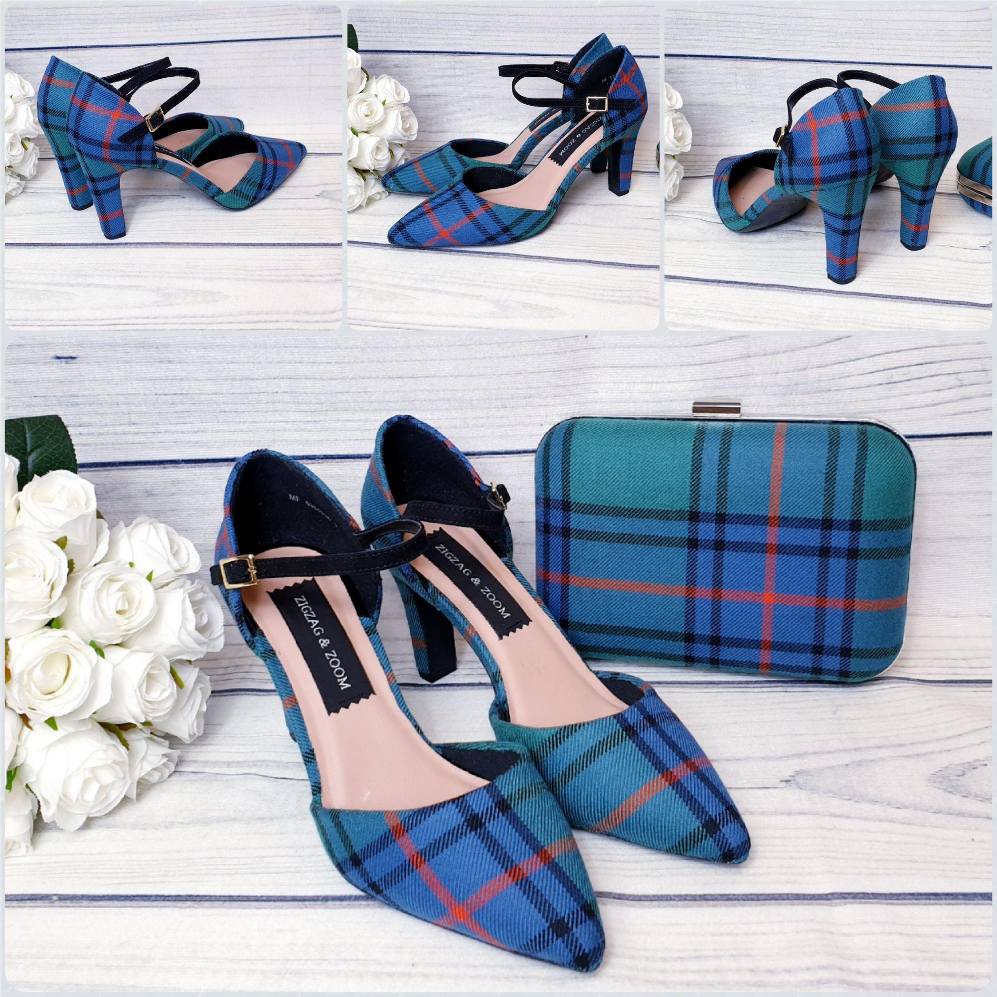Tartan shoes and matching tartan clutch bag