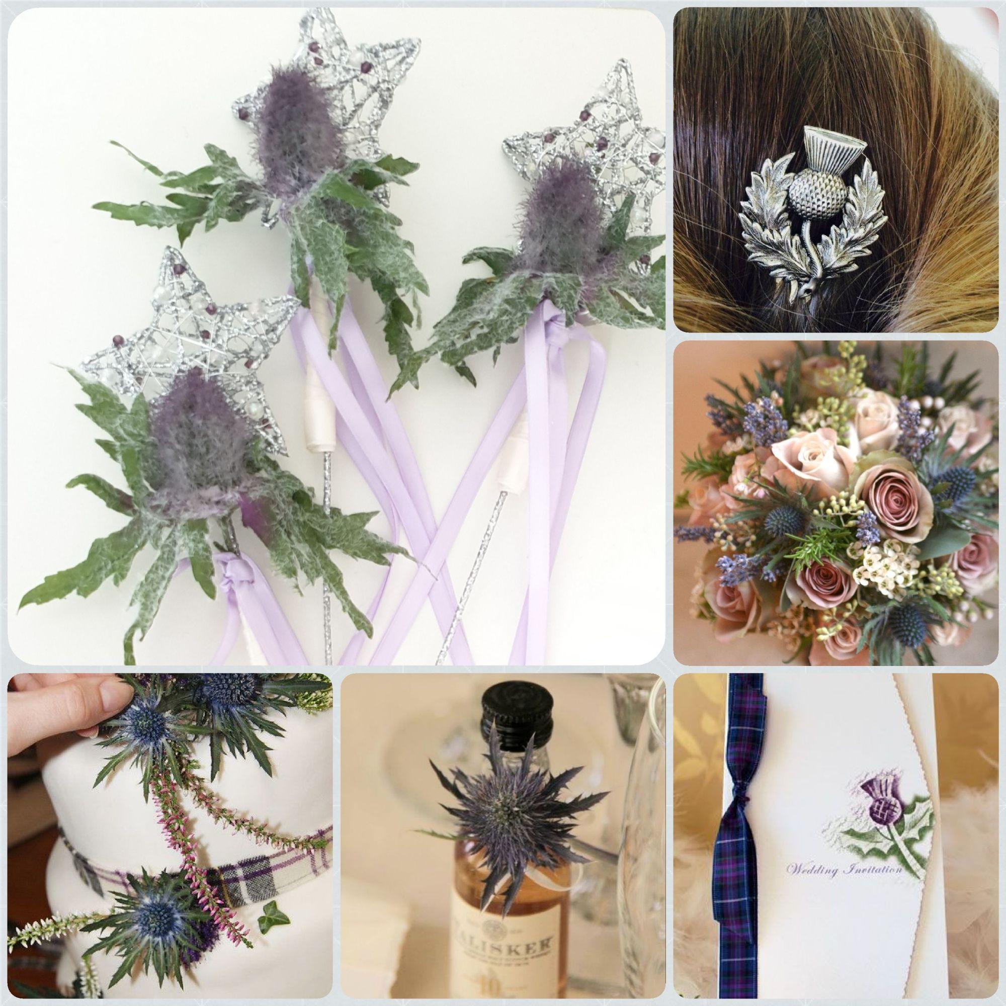 Thistle wand, thistle flowergirl wands, scottish wedding