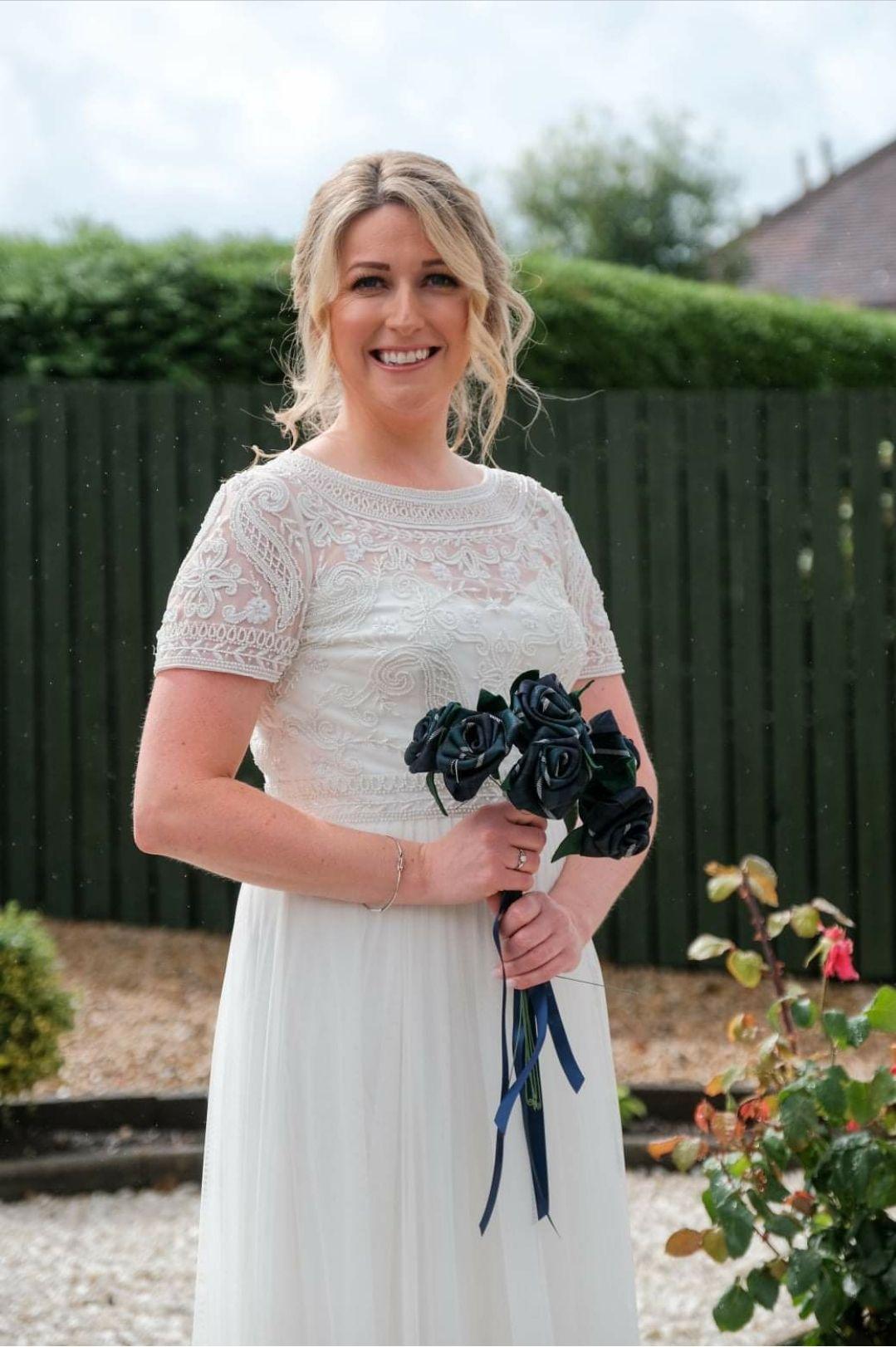 Tartan flower bouquet, Scottish wedding flowers