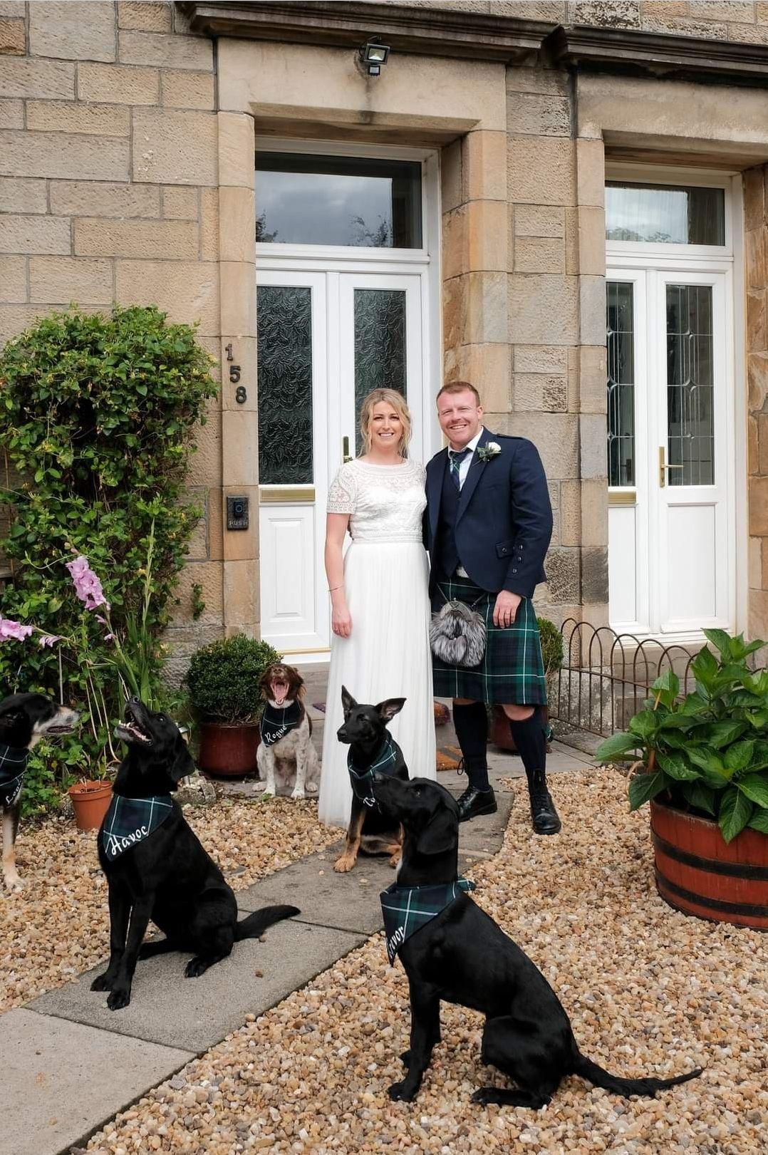 Scottish wedding inspiration, dogs at wedding