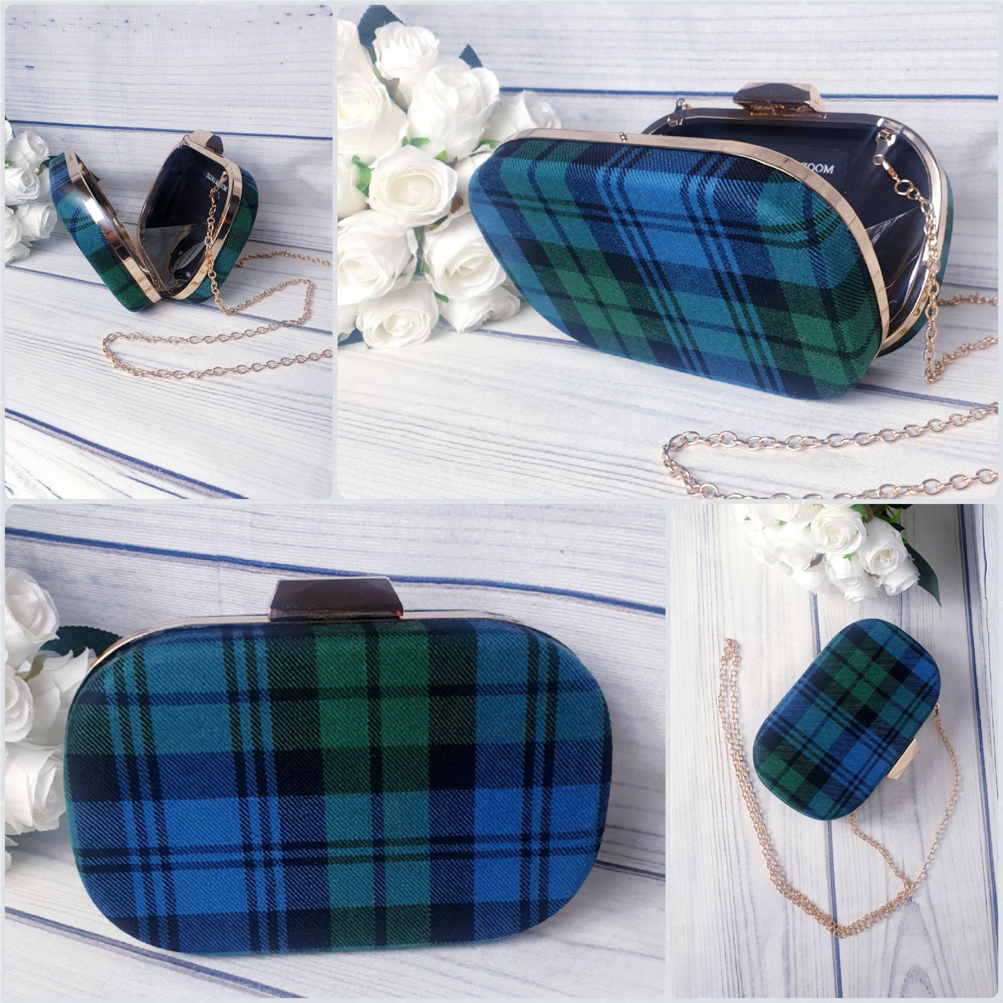 Tartan clutch bag, Ancient Blackwatch tartan