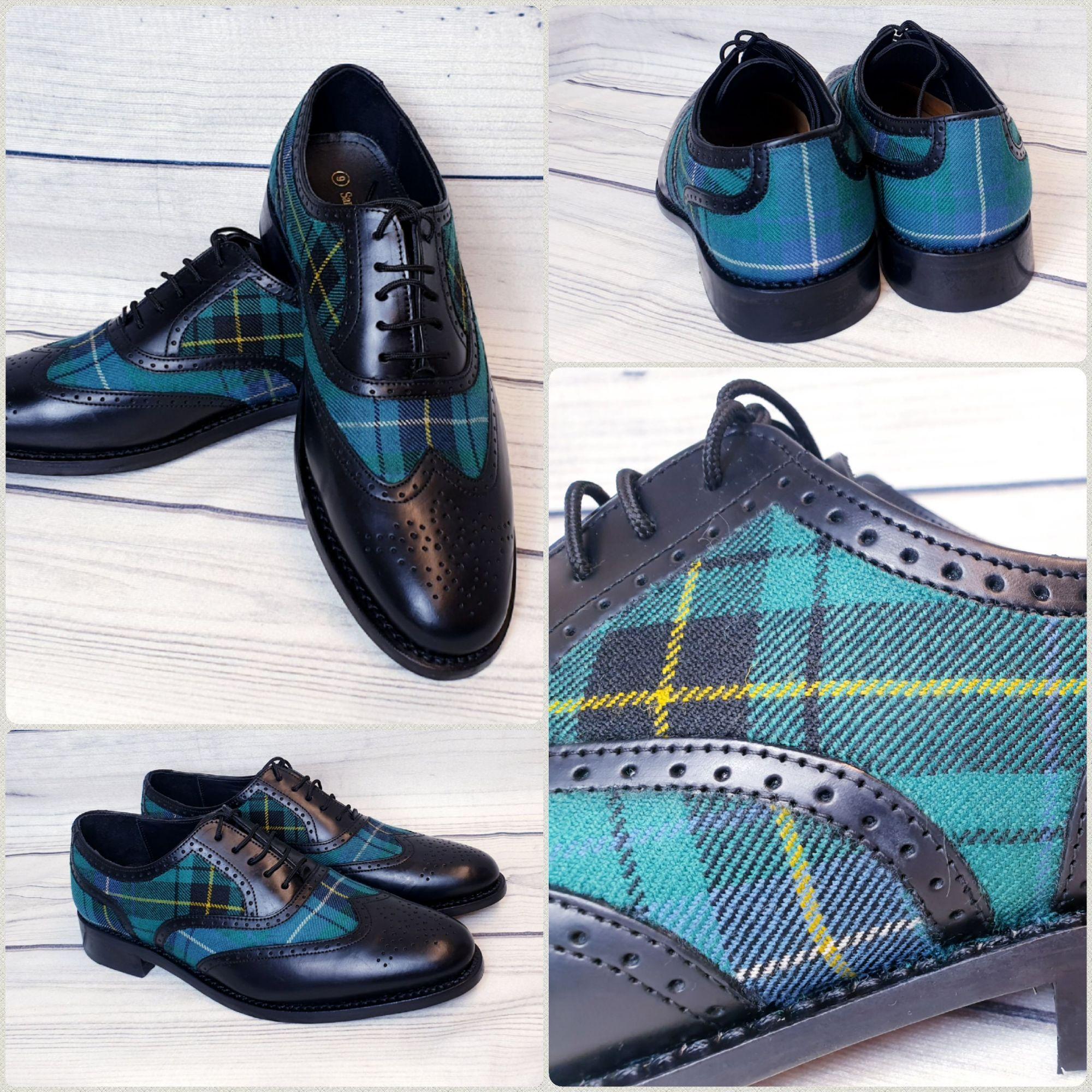 Tartan brogues shoes, wedding tartan shoes, plaid shoes, Brogues